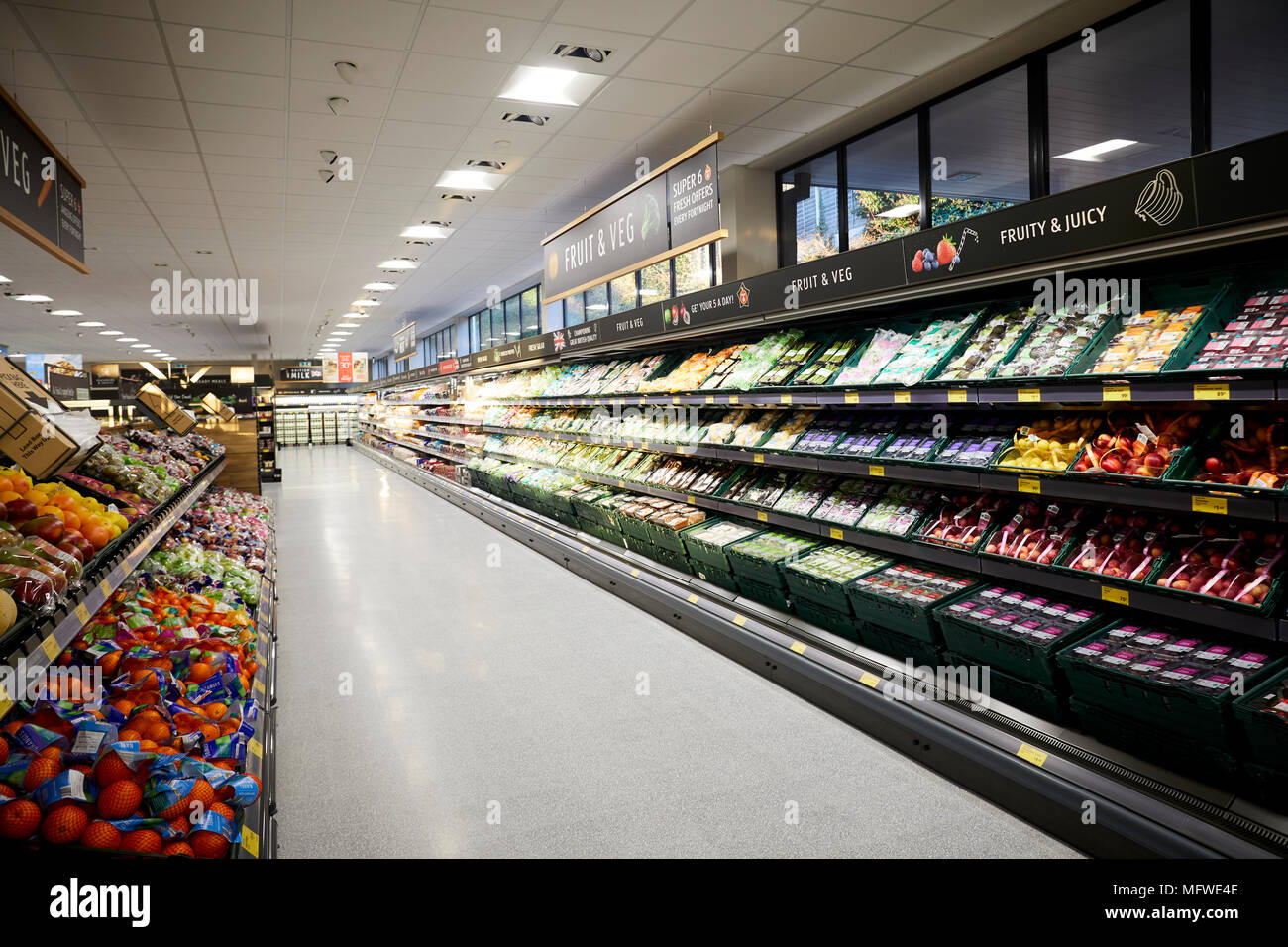 ALDI grand opening of their Chapel Allerton store in Leeds.  Pictured interior - Stock Image