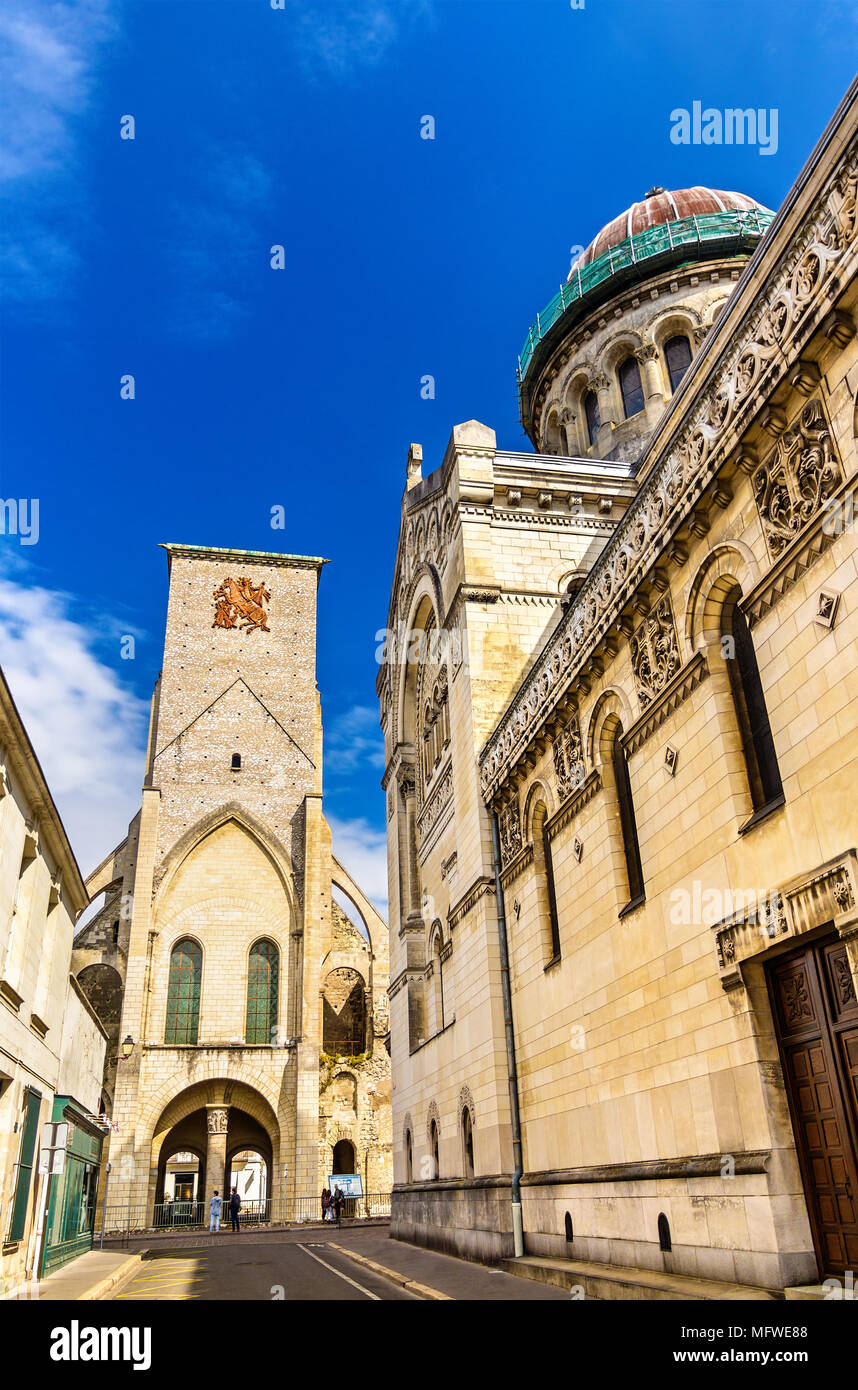Basilica of St. Martin and Charlemagne tower in Tours - France - Stock Image