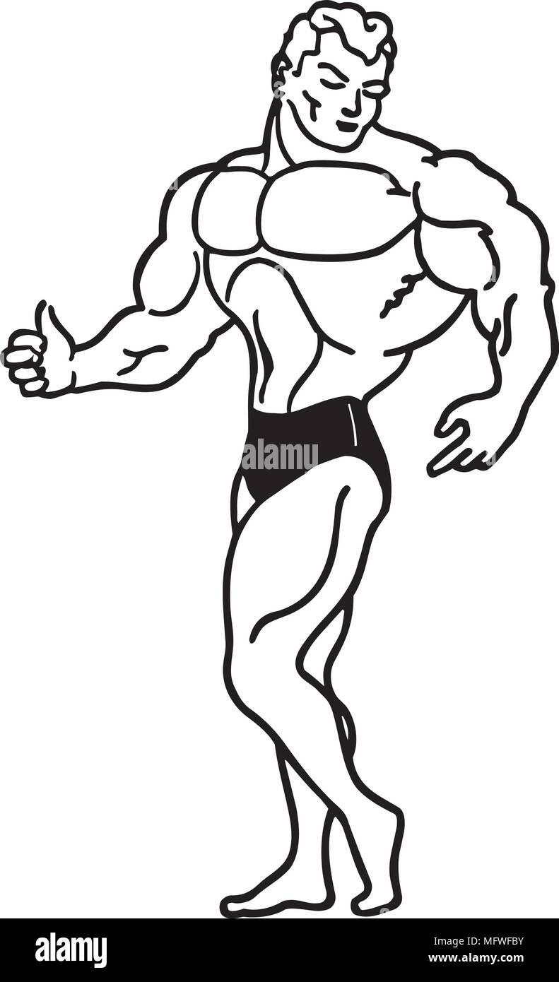 Muscle Man - Retro Clipart Illustration - Stock Image