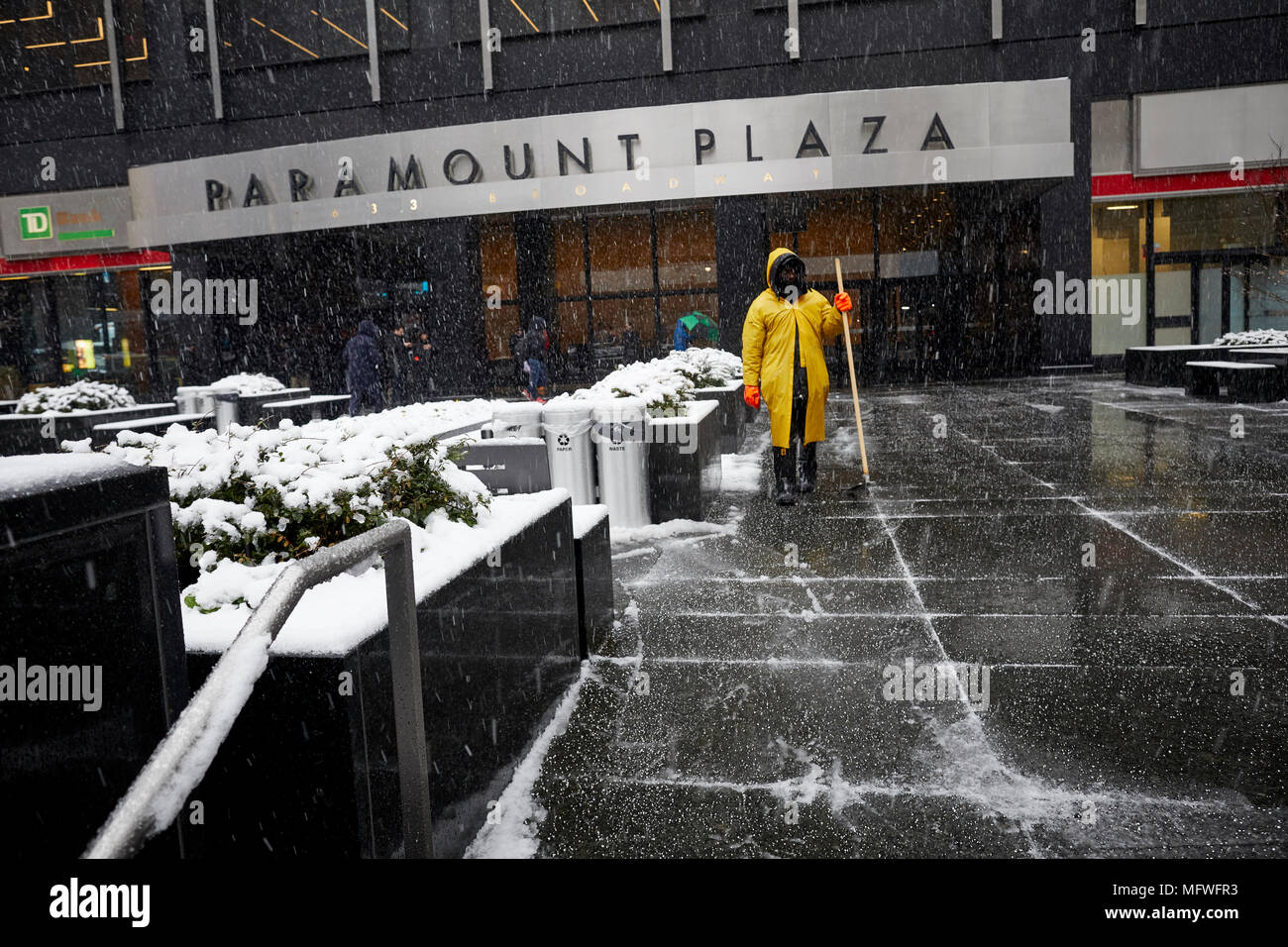 Manhattan in New York City , Paramount Plaza  covered by a snow fall near Times Square - Stock Image