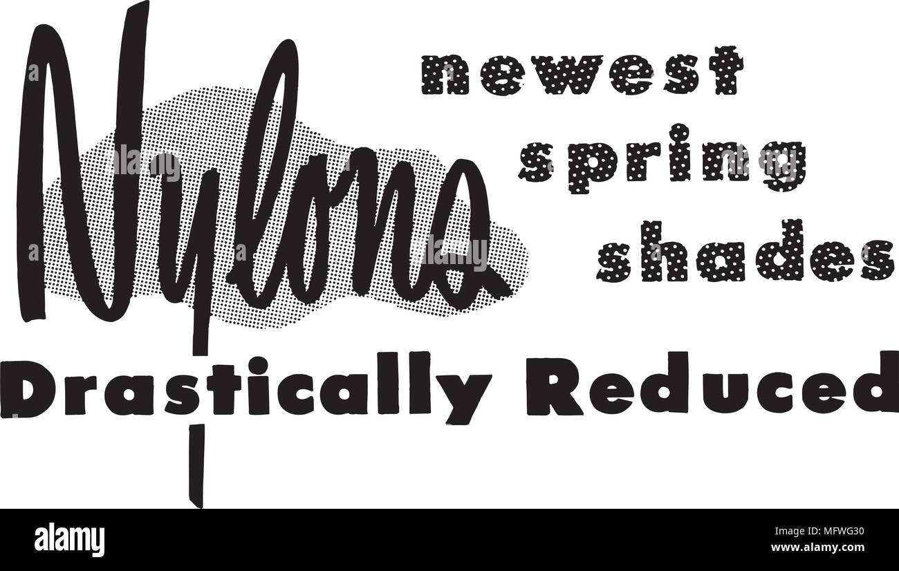 Nylons Reduced - Retro Clipart Banner - Stock Image