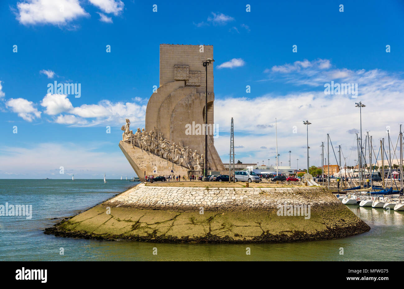 View of Monument to the Discoveries in Lisbon, Portugal - Stock Image