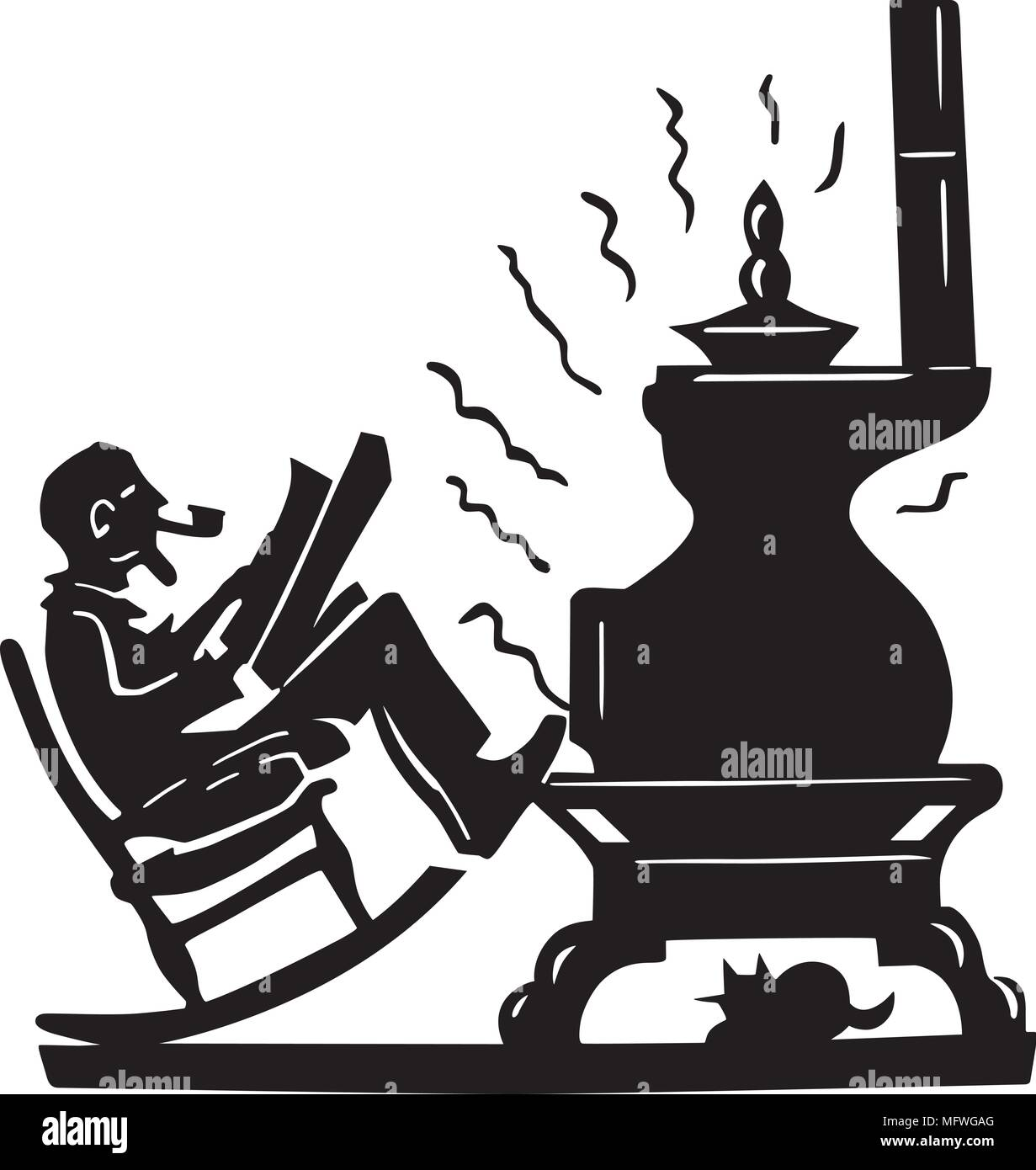 Old Man With Pot Bellied Stove - Retro Clipart Illustration - Stock Vector
