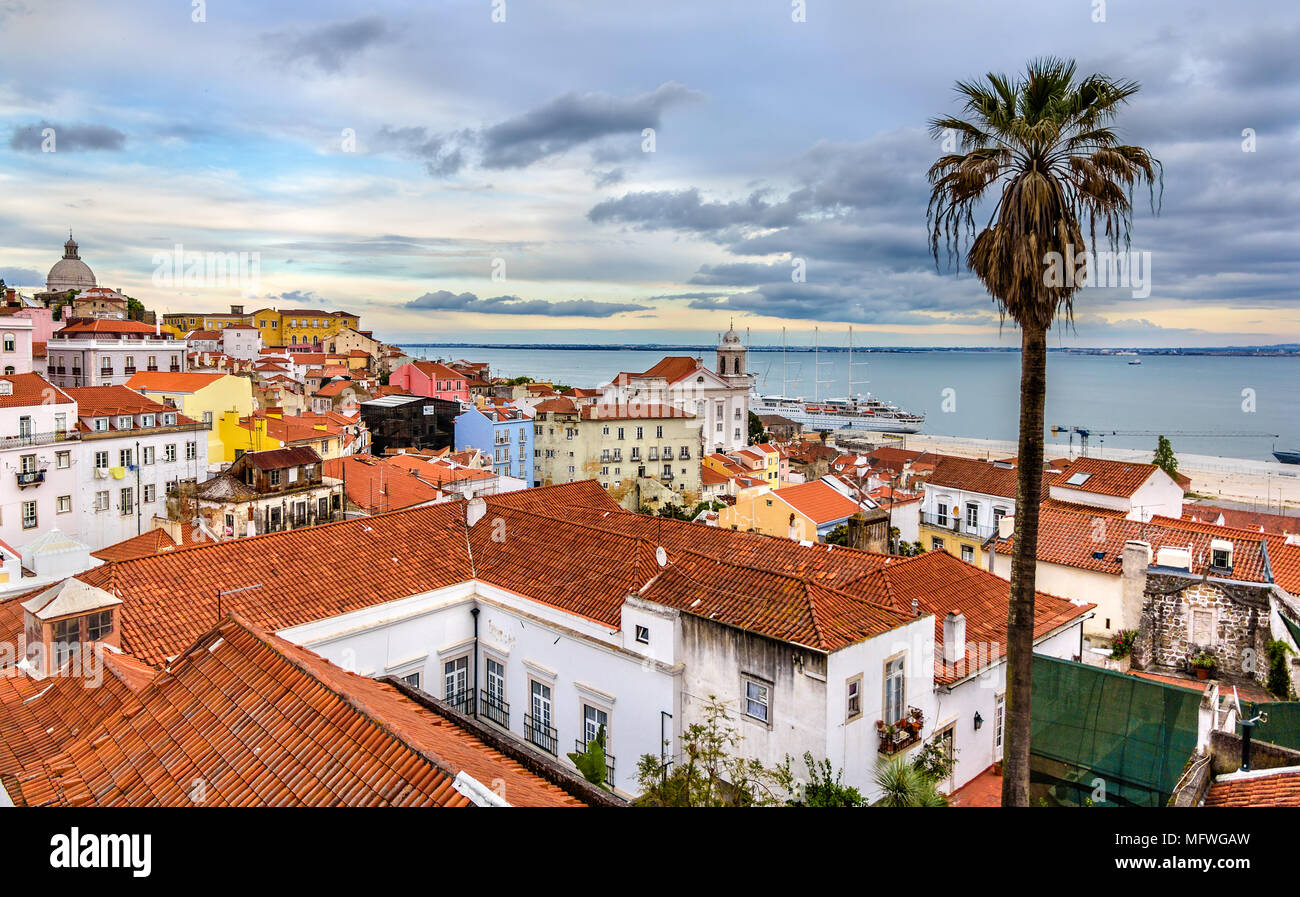 View of Lisbon and the Tagus river - Portugal - Stock Image