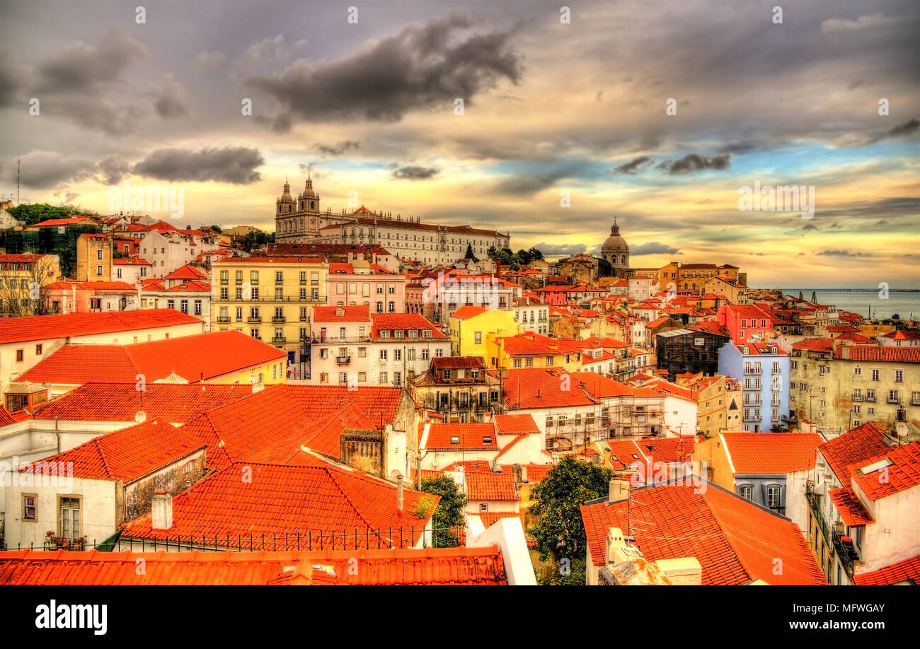 View of the historic center of Lisbon in the evening - Portugal - Stock Image