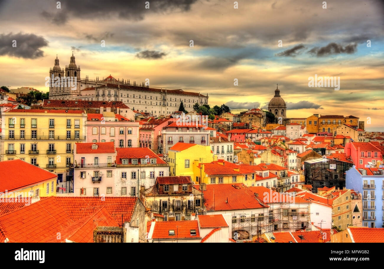View of the Monastery of Sao Vicente de Fora in Lisbon - Stock Image