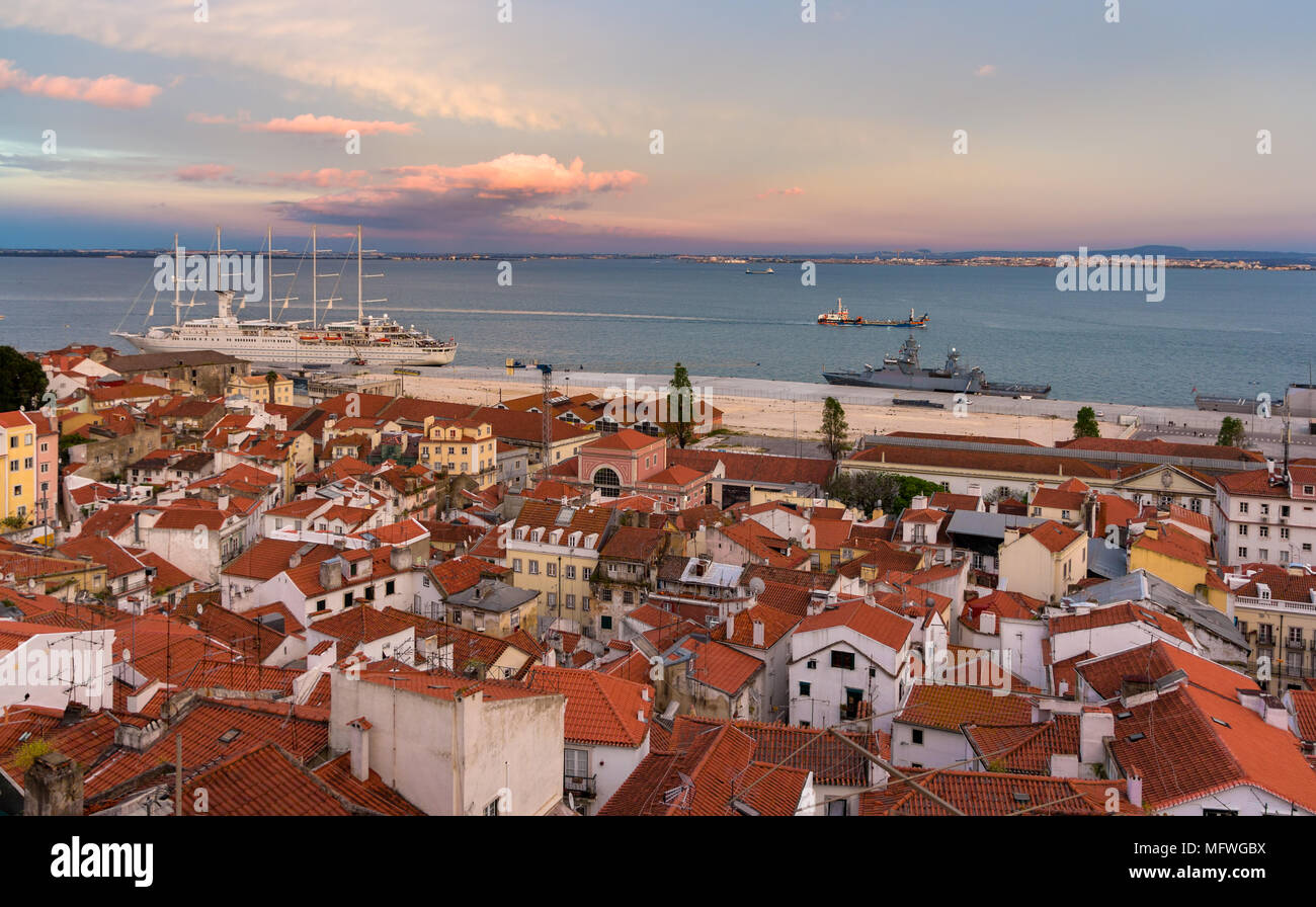 View of the River Tagus in Lisbon, Portugal - Stock Image