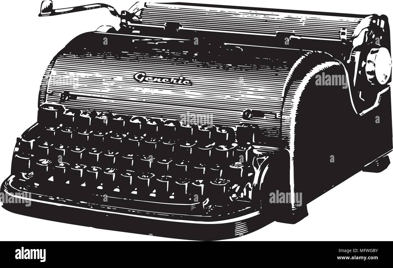 Remington Typewriter - Retro Clipart Illustration - Stock Vector