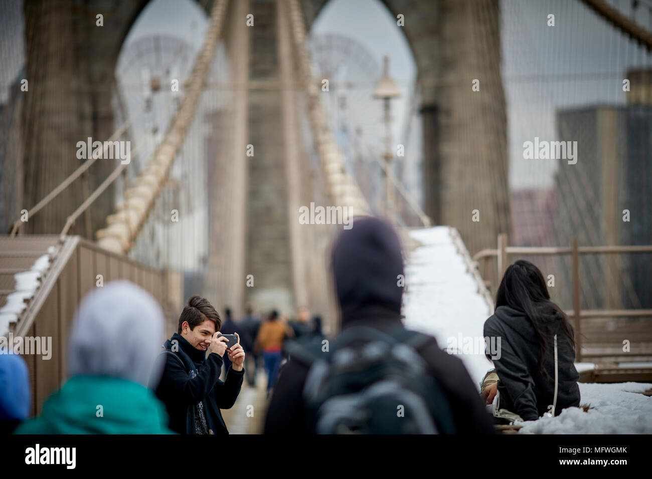 Brooklyn in New York City, No Locks fine notice on Brooklyn Bridge tourist stop to take pictures on the landmark structure - Stock Image