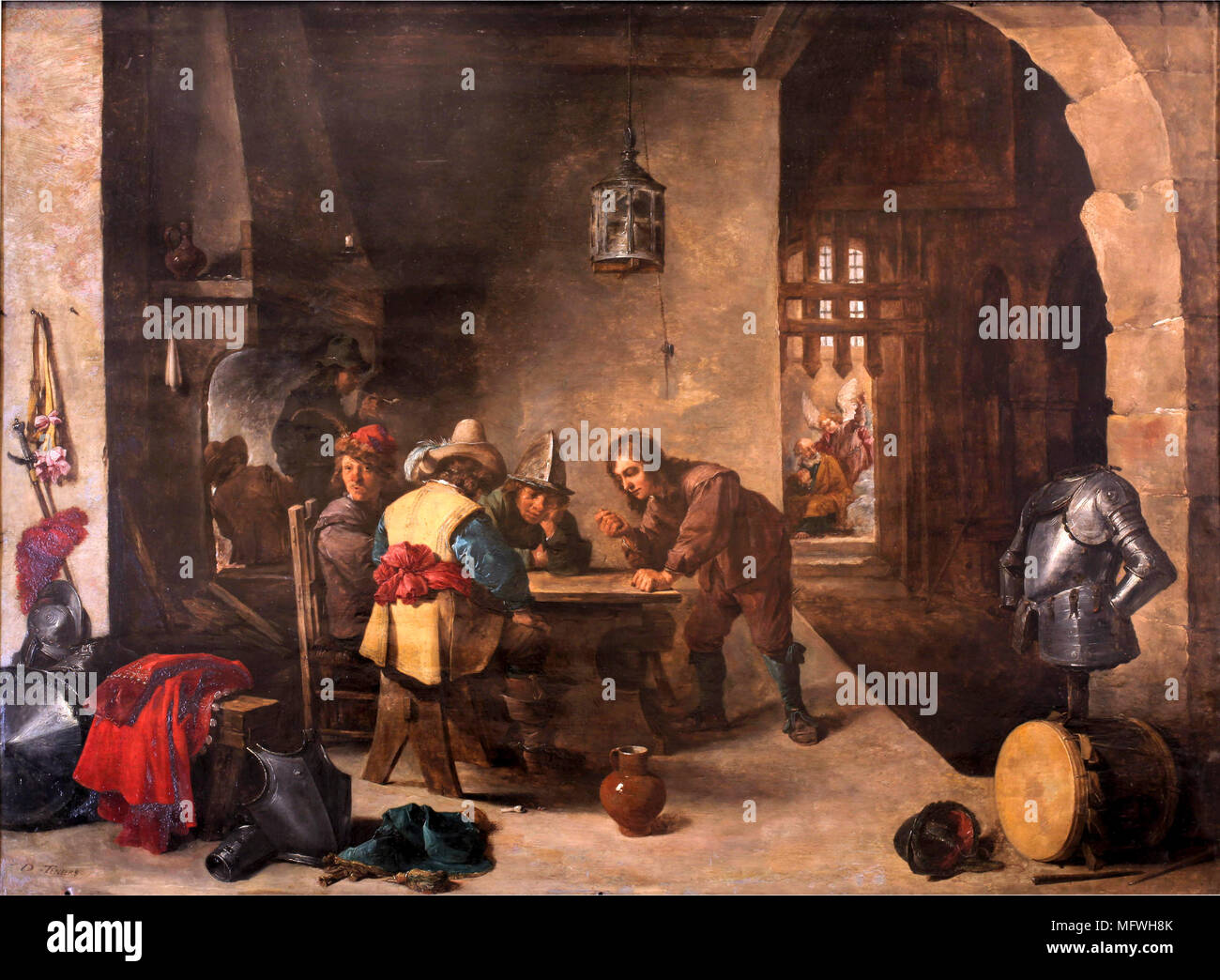 'Guardroom with Saint Peter delivered' by David Teniers the Younger - Stock Image