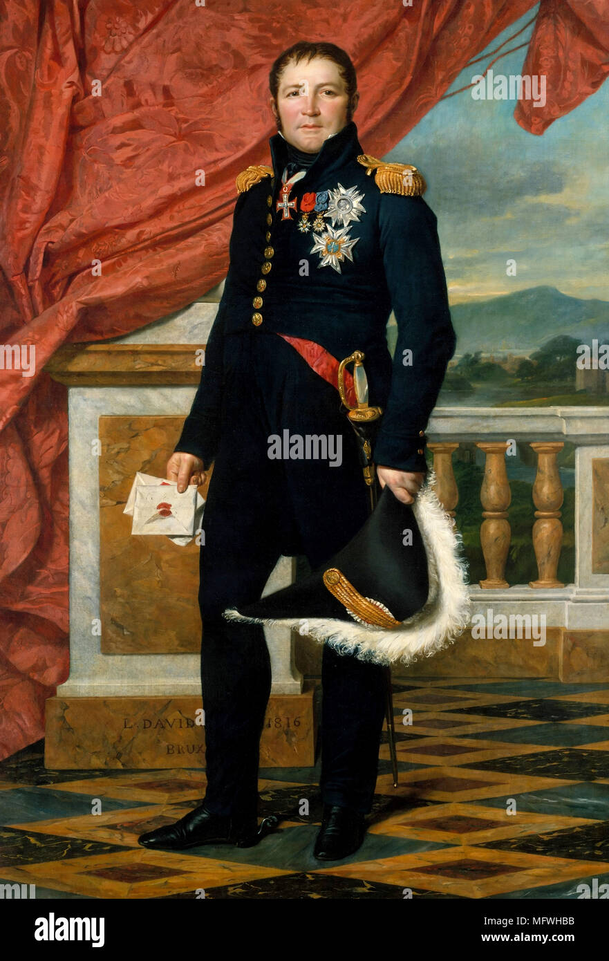 Étienne Maurice Gérard, 1er Comte Gérard (1773 – 1852) French general, statesman and Marshal of France. Prime Minister briefly in 1834 Etienne Maurice Gerard. Portrait by Jacques-Louis David - Stock Image