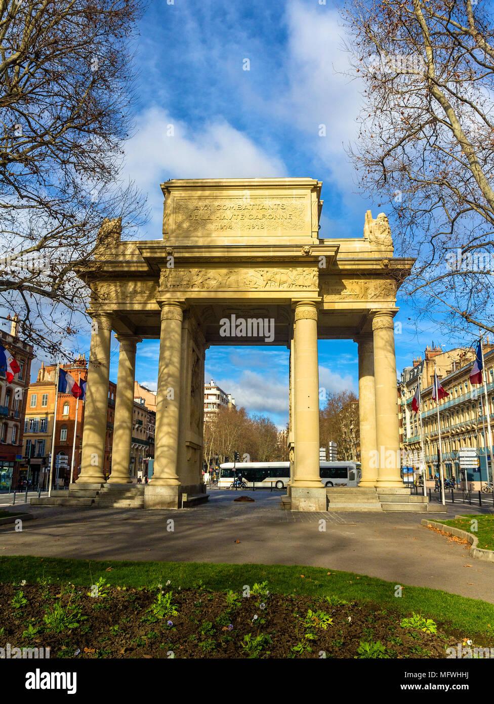 Monument Aux Combattants de la Haute Garonne in Toulouse - Franc - Stock Image