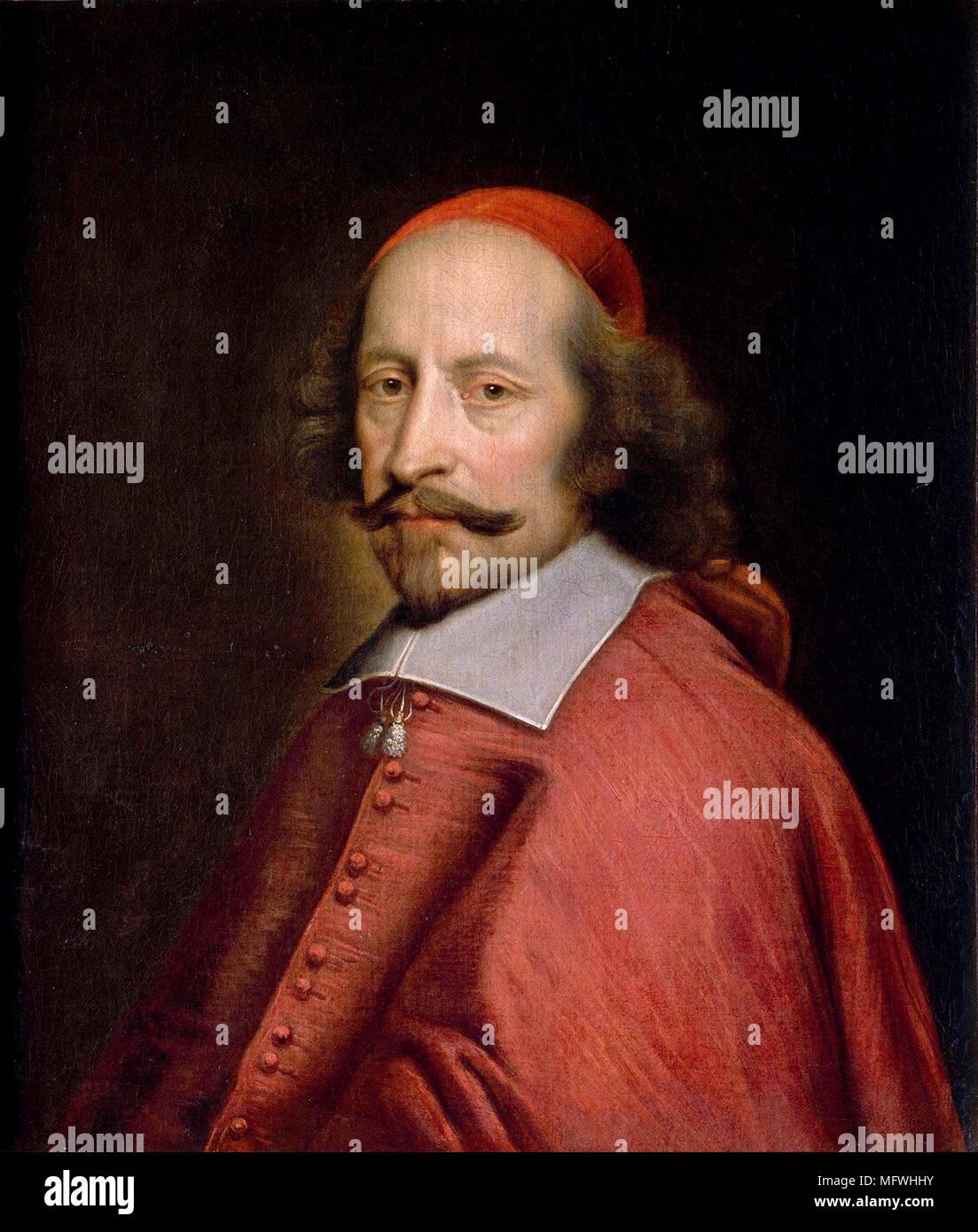 Cardinal Jules Raymond Mazarin, 1st Duke of Rethel, Mayenne and Nevers (1602 – 1661),born Giulio Raimondo Mazzarino, Italian cardinal, diplomat, and politician Portrait of Jules Mazarin by Pierre Mignard (1658) - Stock Image
