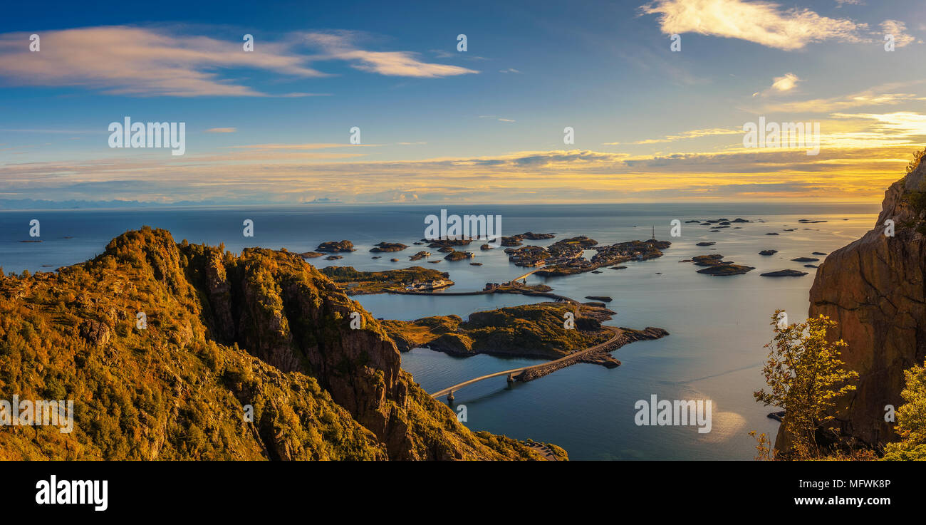 View from mount Festvagtinden above the village of Henningsvaer in Norway - Stock Image