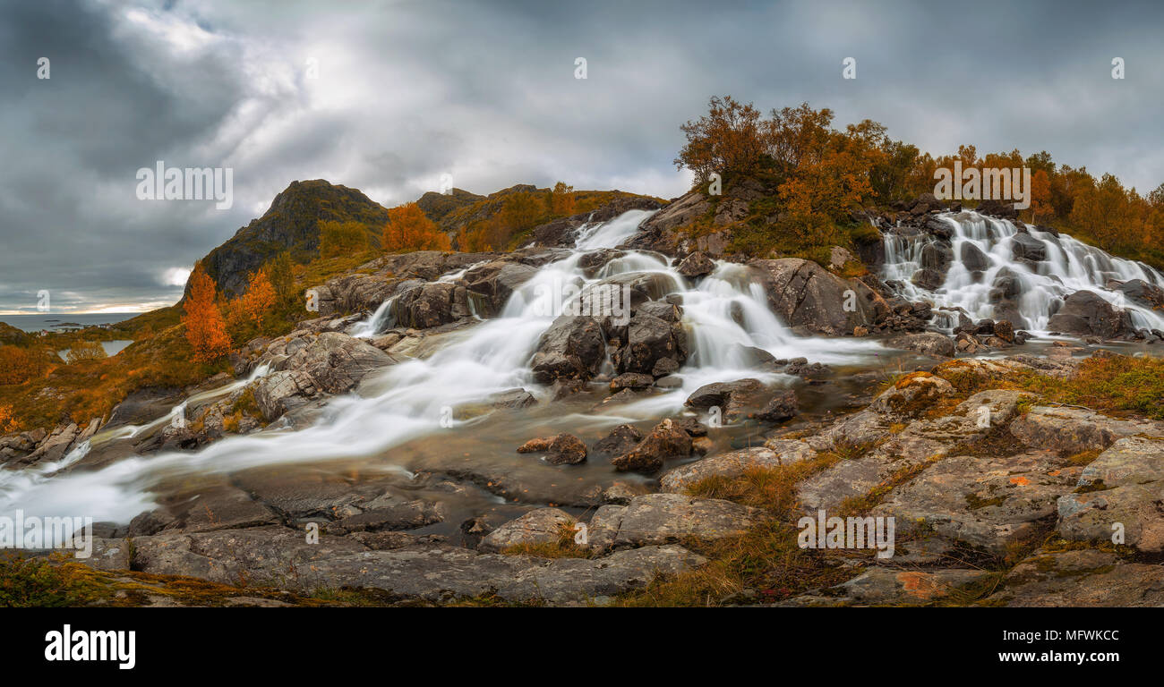 Lofoten waterfall on Moskenesoya, Lofoten, Norway - Stock Image