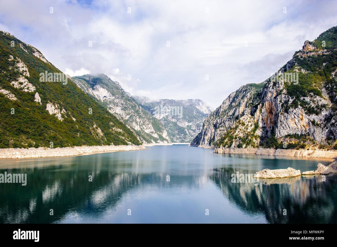Piva, a river in Montenegro and Bosnia and Herzegovina and the rocks of Montenegro Stock Photo
