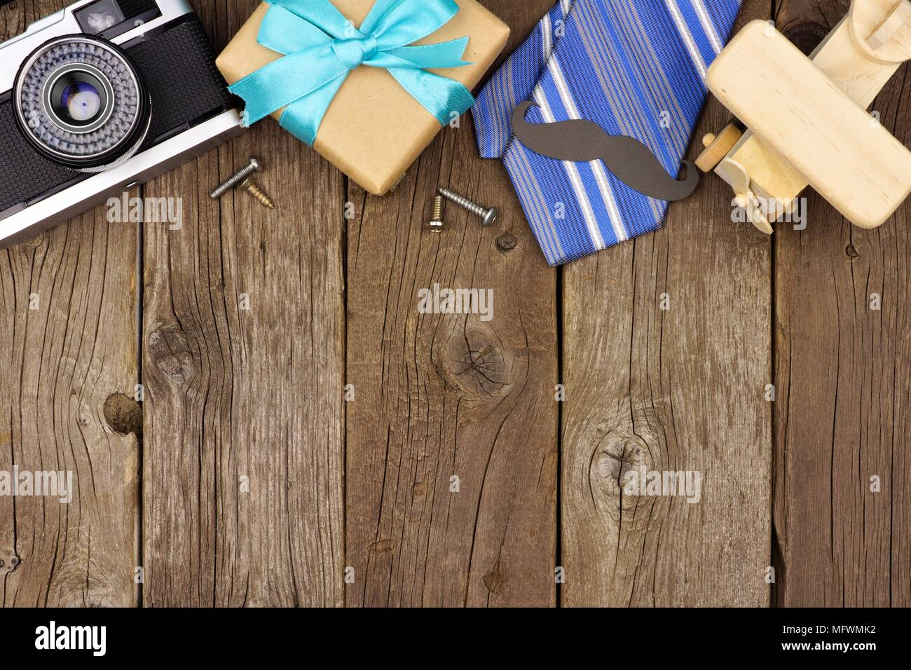 Fathers Day Theme Top Border Of Gifts Tie And Decor On A Rustic Wood Background View With Copy Space