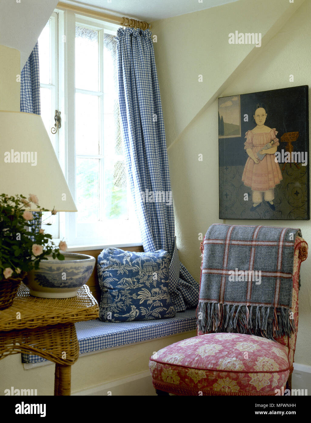 Country, Sitting Room, Detail, Blue White Check Curtains, Window Seat, Red Floral  Upholstered Chair, Cane Table,