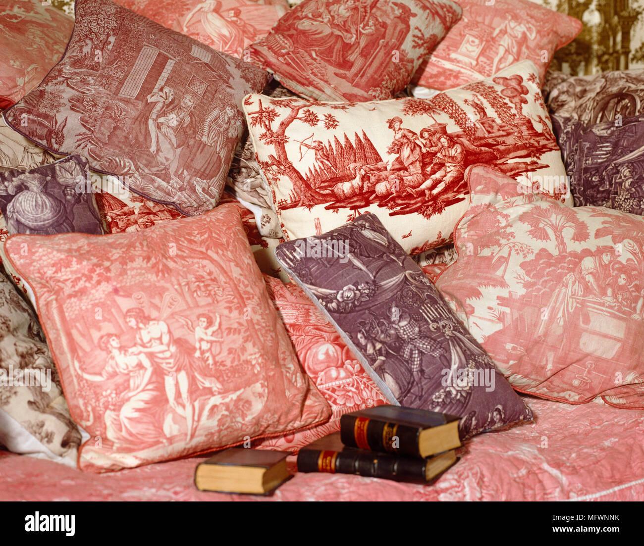 Avalon Cuscini.Collection Toile De Jouy Fabric Cushions Stock Photo 181889391