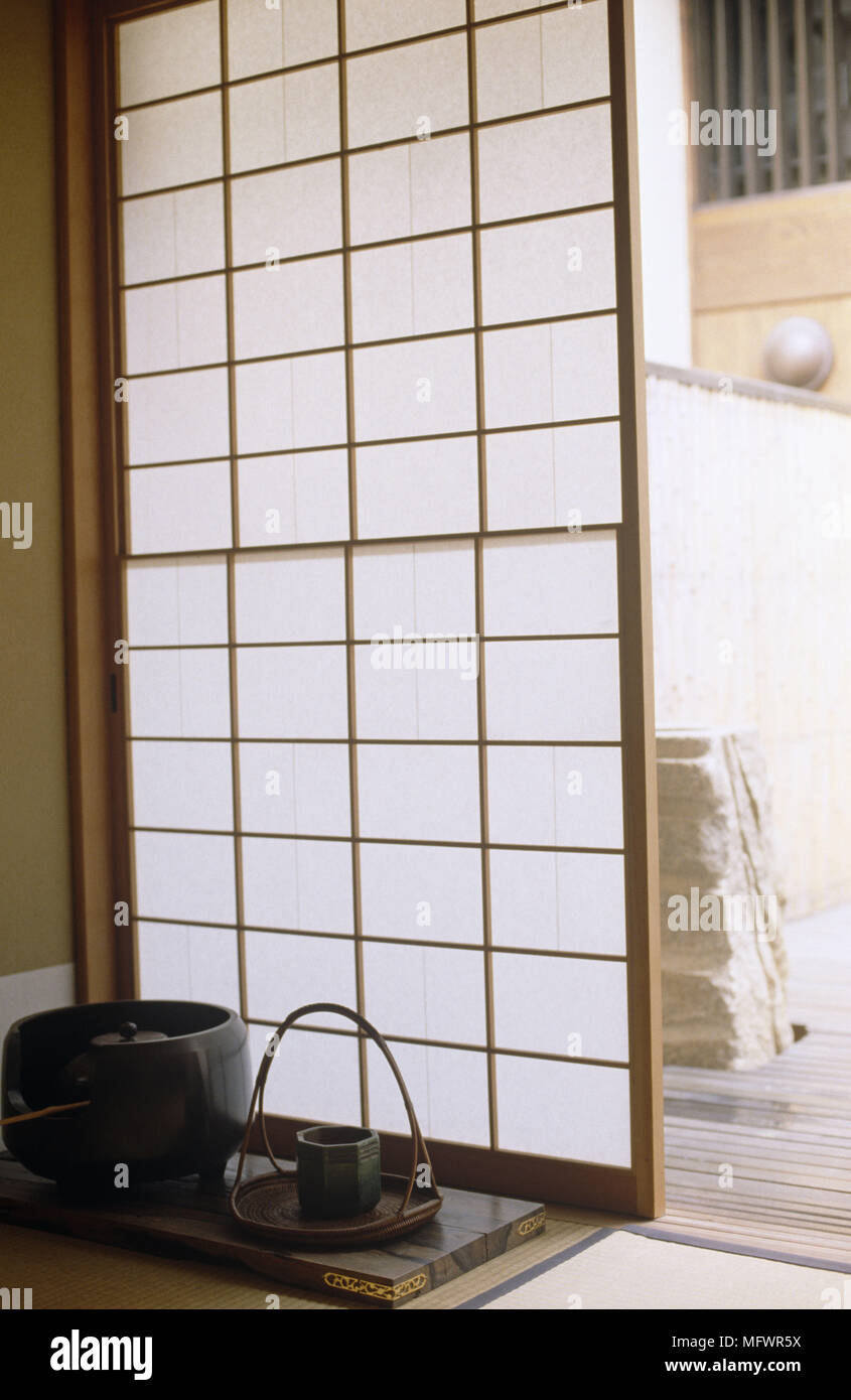Merveilleux Opaque Japanese Style Screen Window With Tray And Bowls   Stock Image