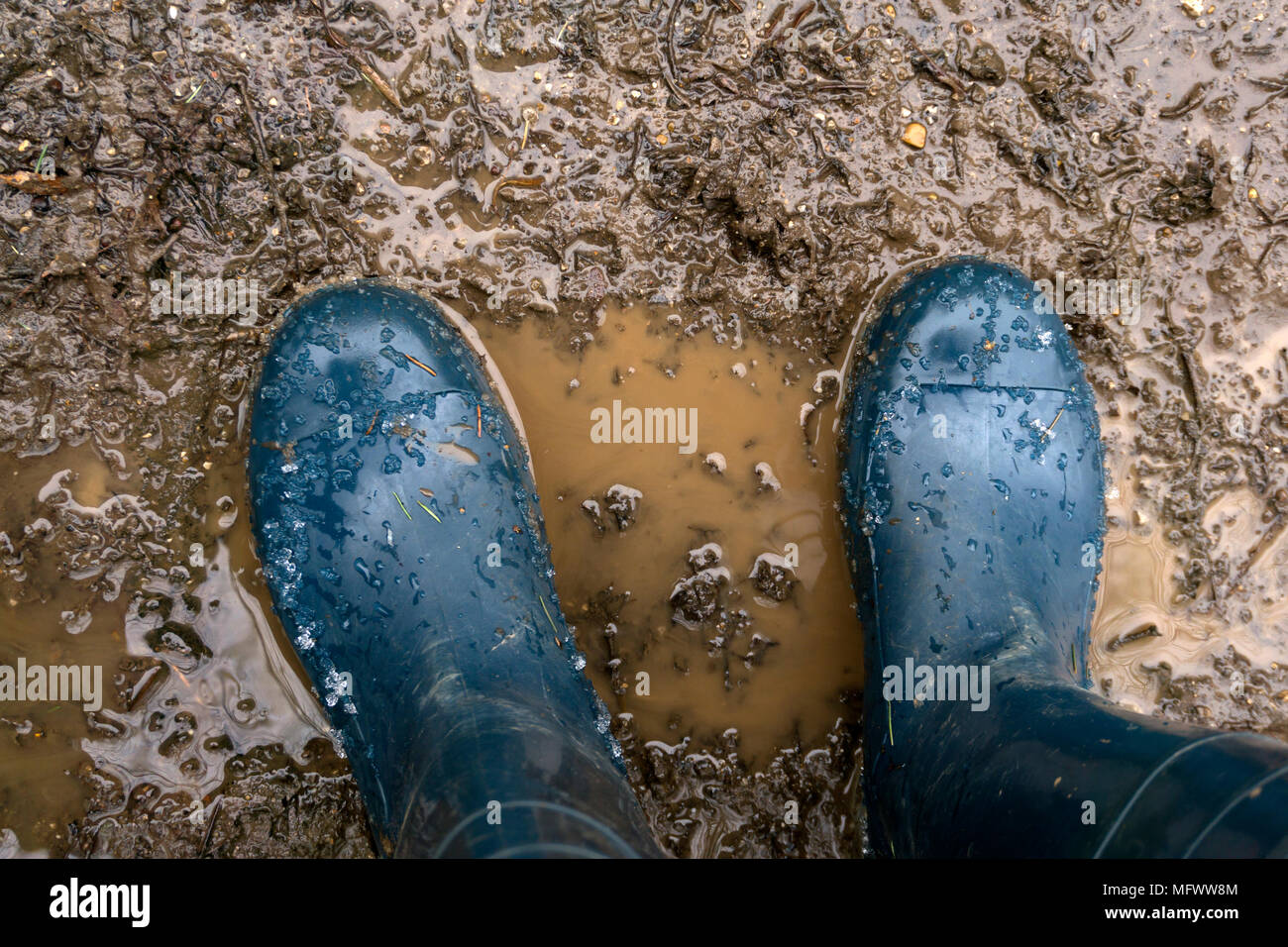 human feet in rubber boots stand in the mud, top-down view - Stock Image