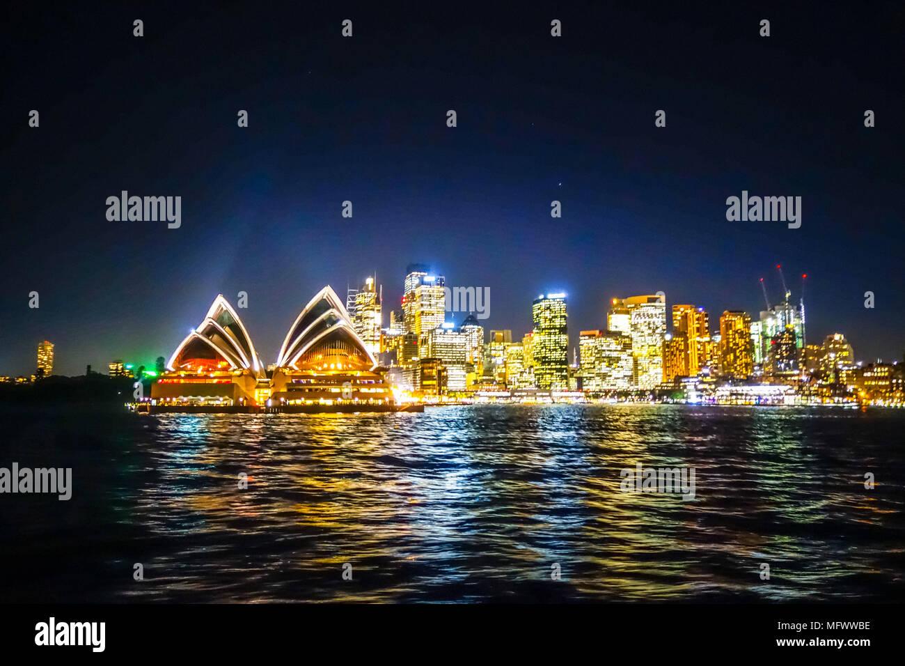 Sydney city and opera house at night, Australia - Stock Image