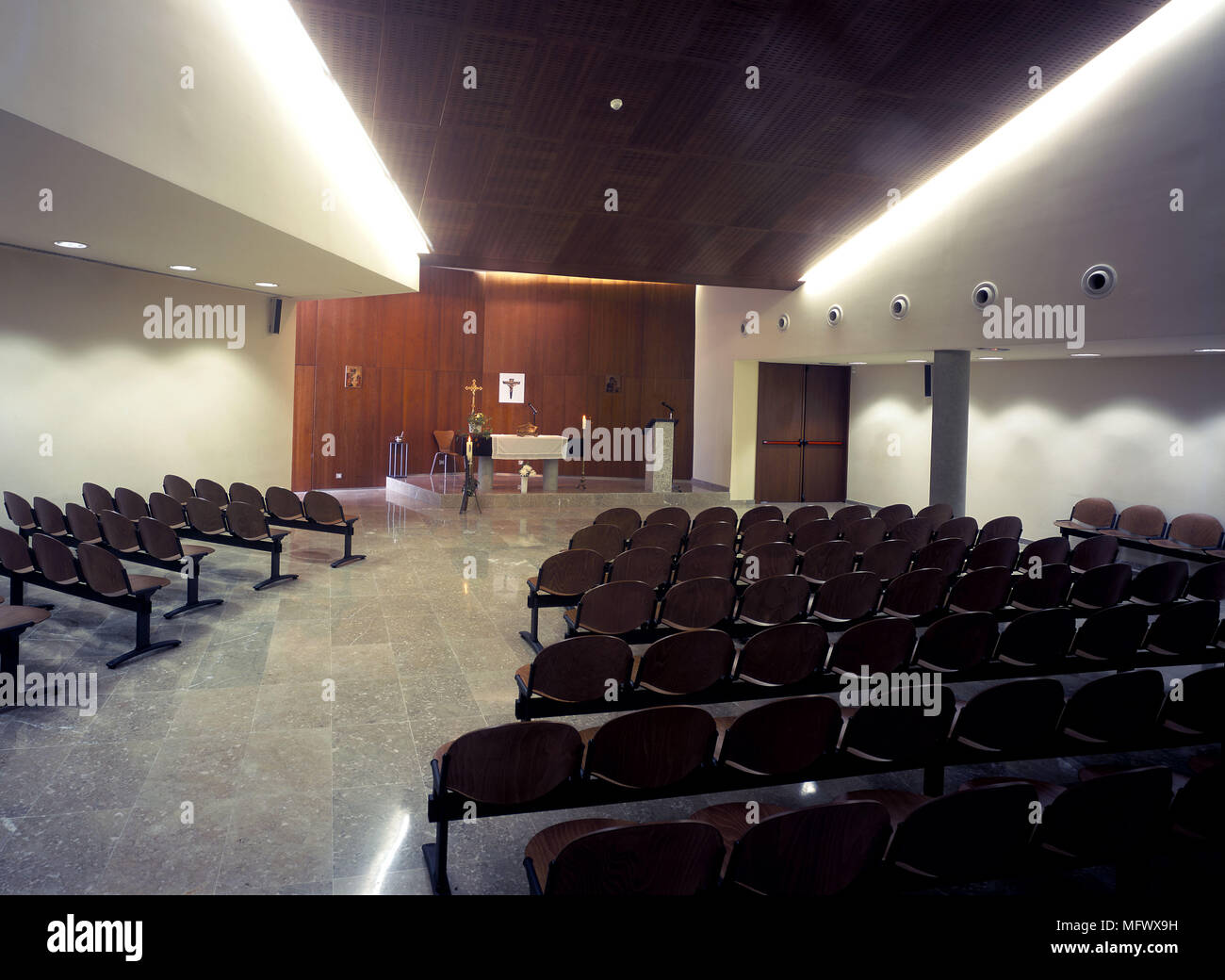 View Of Eclectic Seating Arrangement Inside An Assembly Hall Stock
