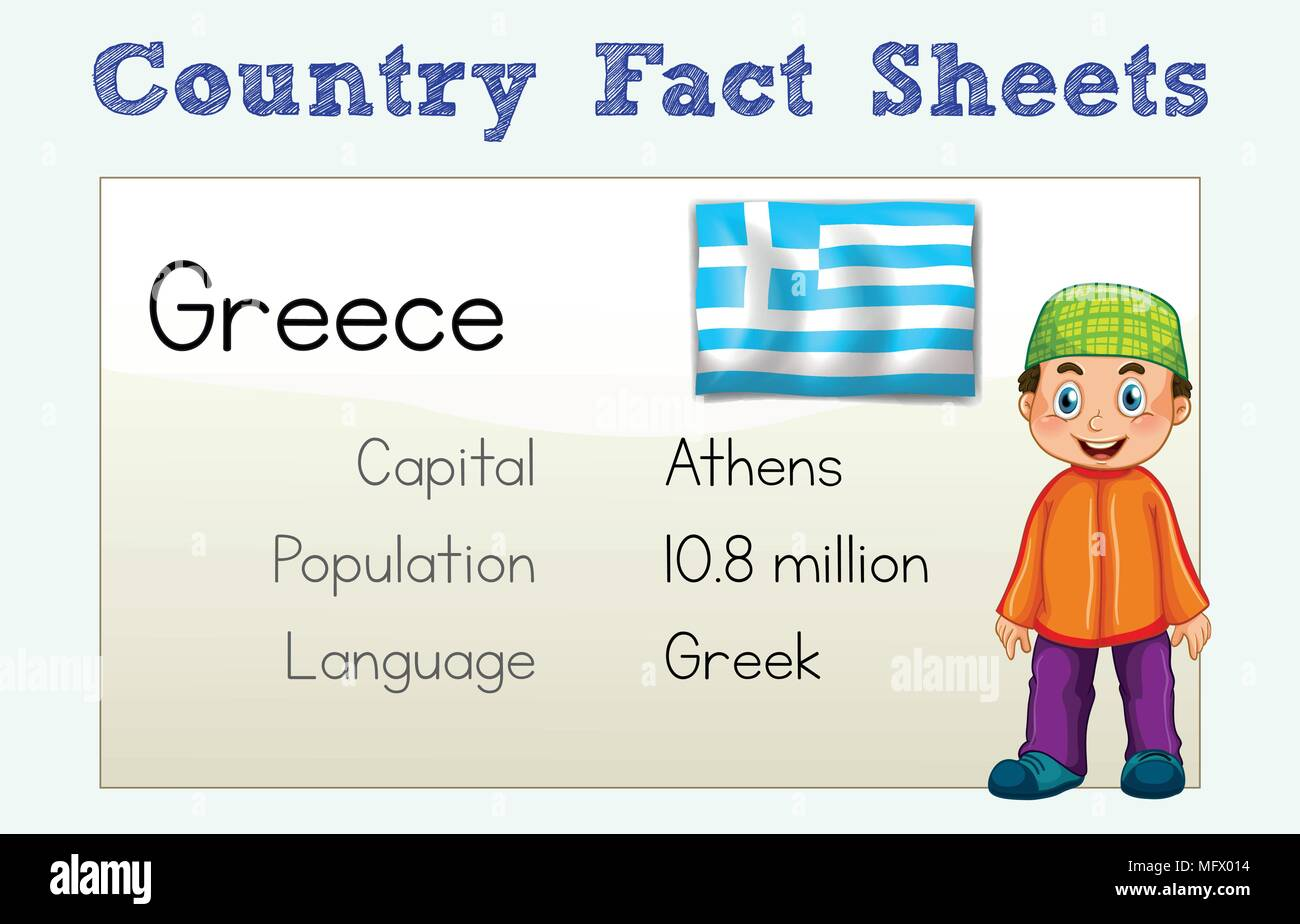Greece Country Fact Sheet with Character illustration - Stock Vector