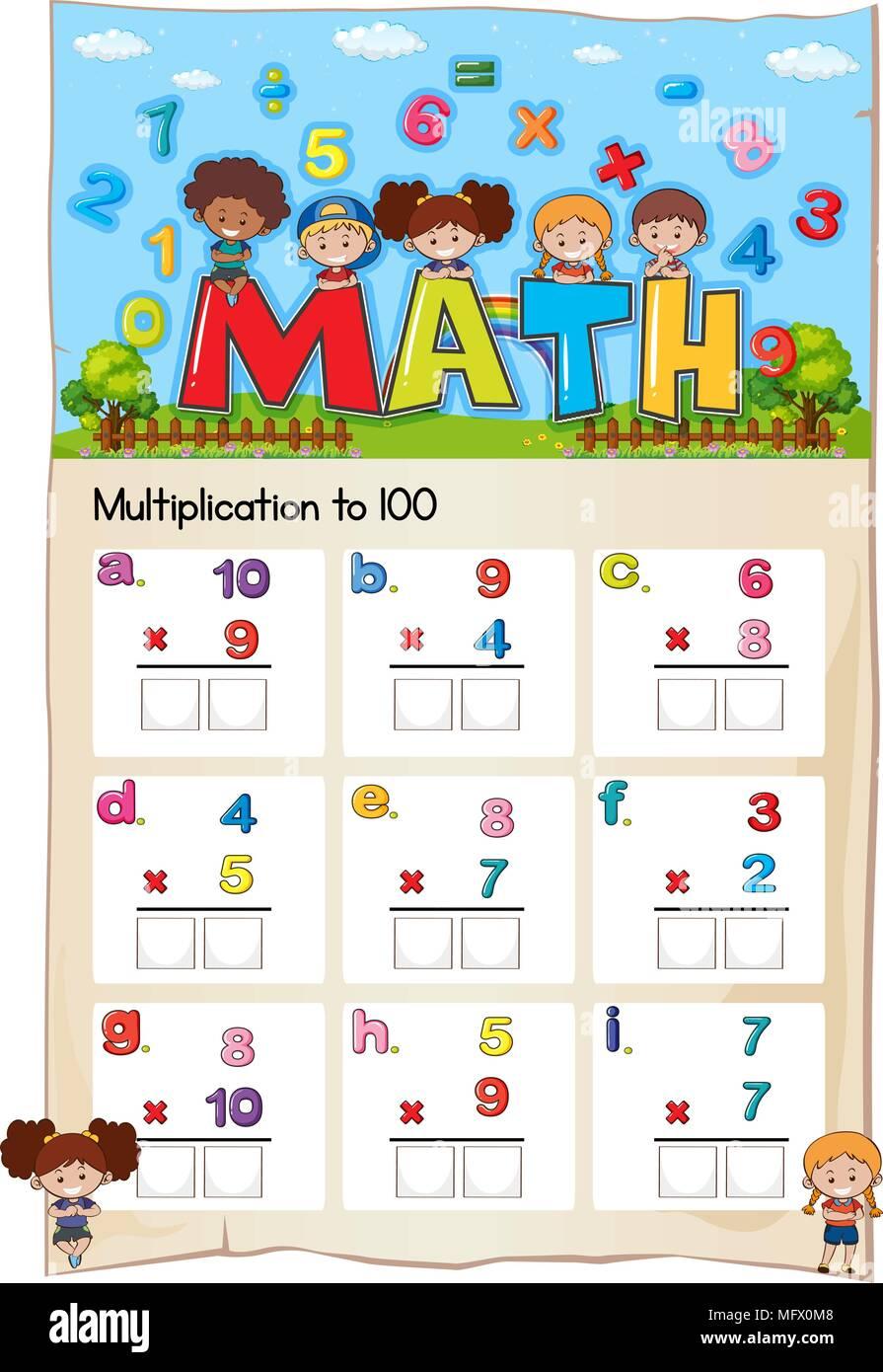 Math worksheet for multiplication to hundred illustration - Stock Vector