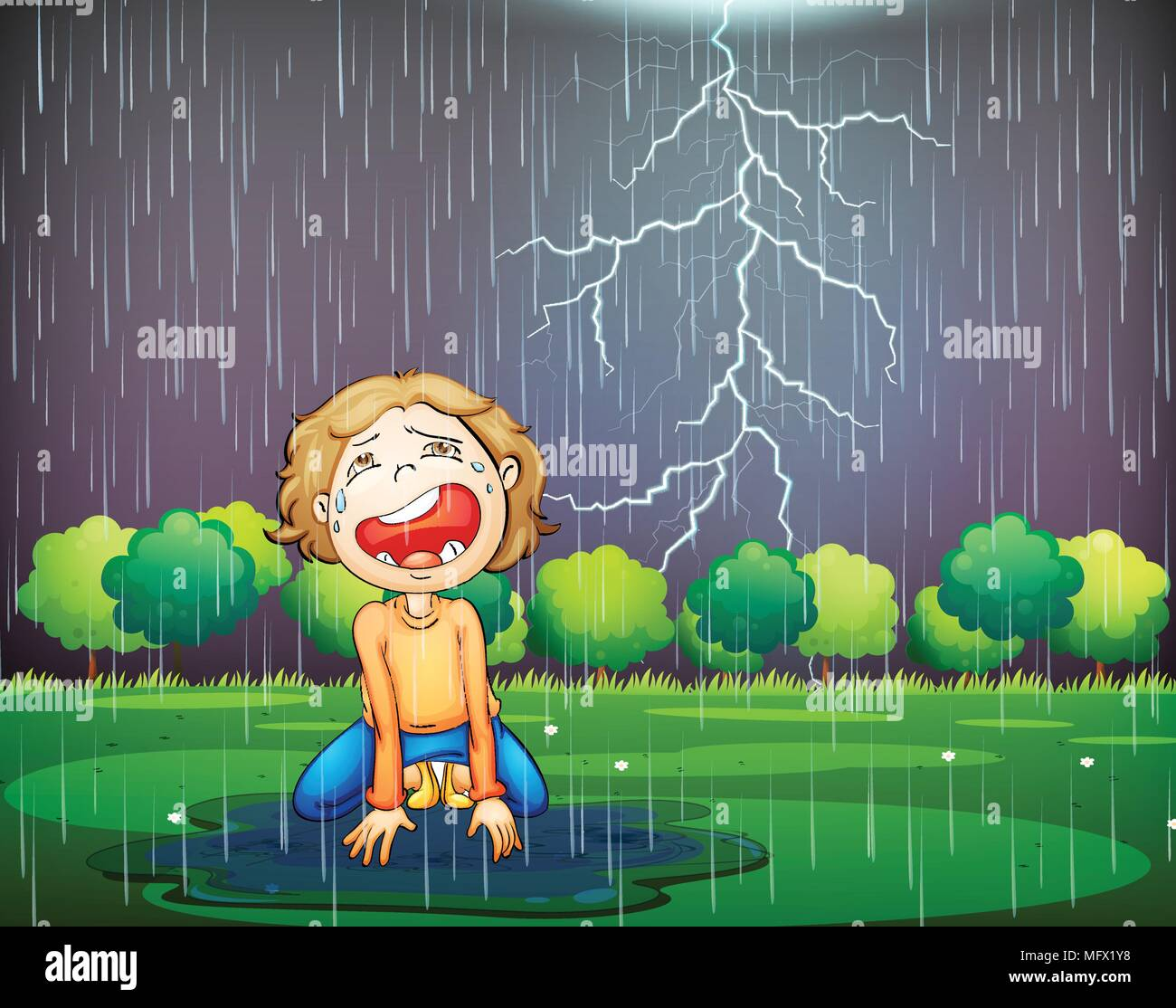 A Crying Kid Lost in the Wood Rain illustration - Stock Vector