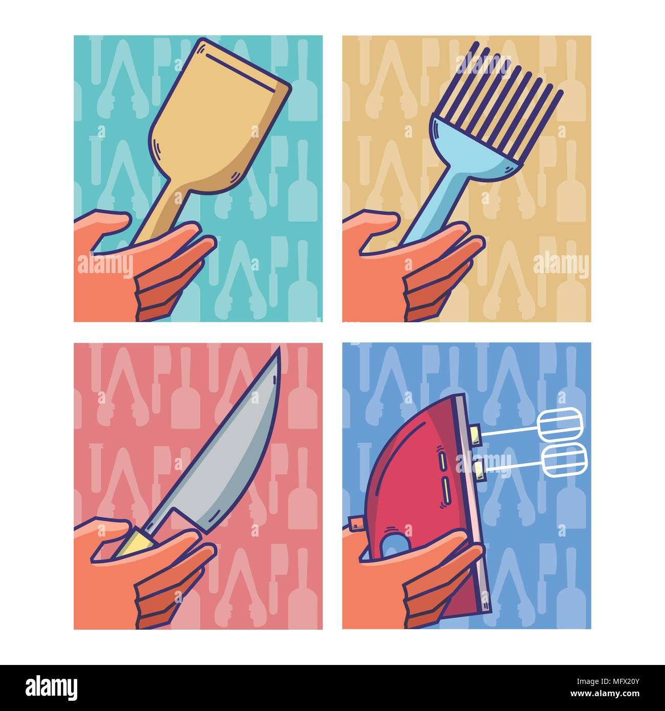 Set of kitchen utensils - Stock Vector