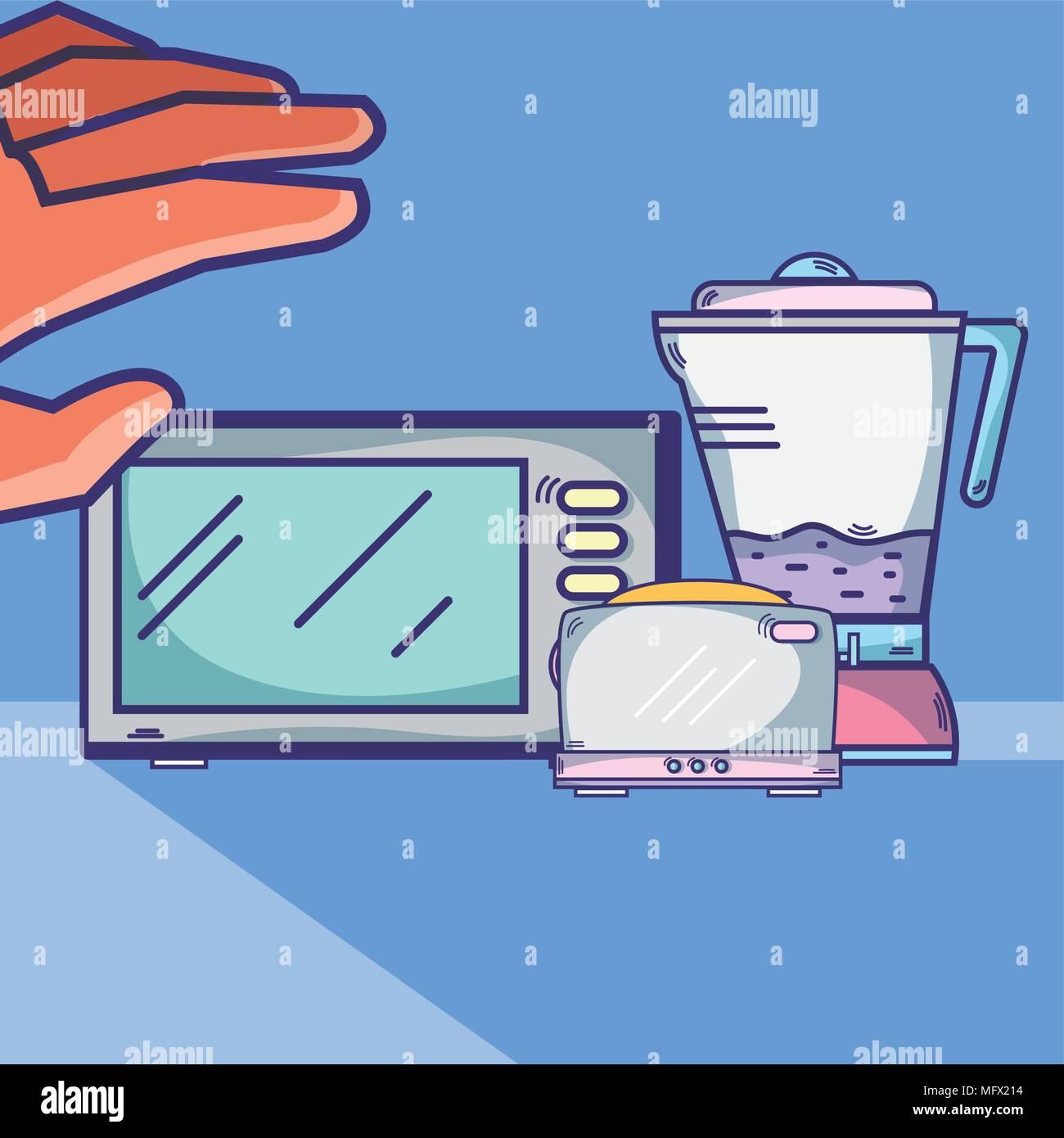 Hand grabbing kitchen utensils - Stock Vector