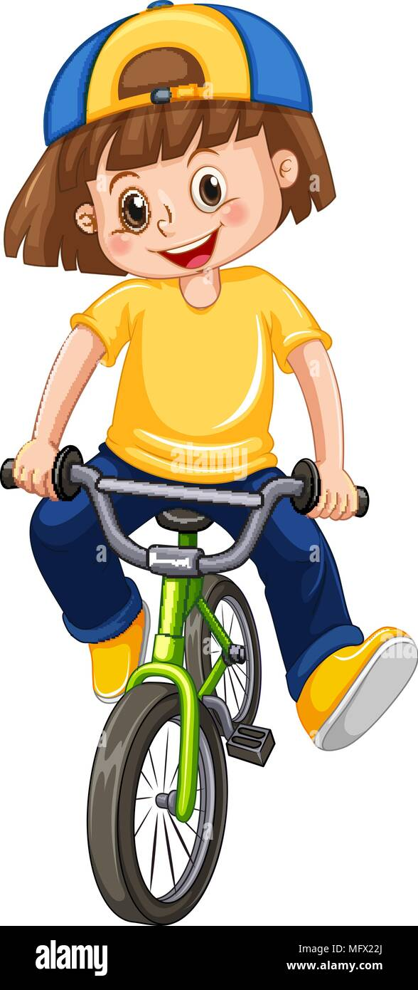 A Kid Riding Bicycle On White Background Illustration Stock Vector