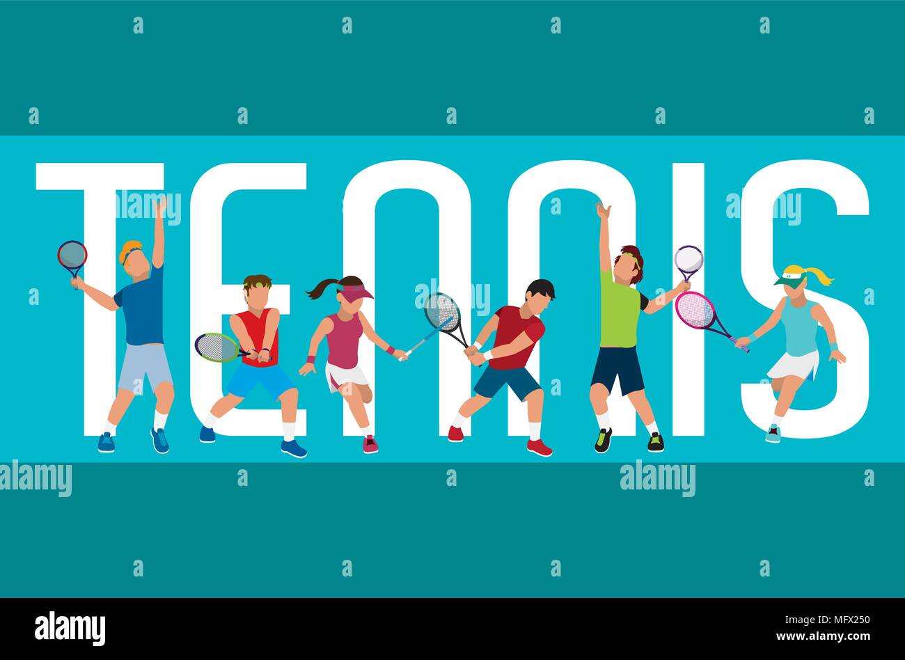 Tennis Banner With Players Stock Vector Image Art Alamy