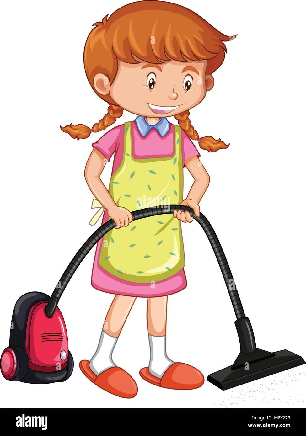 Girl vacuuming floor w...