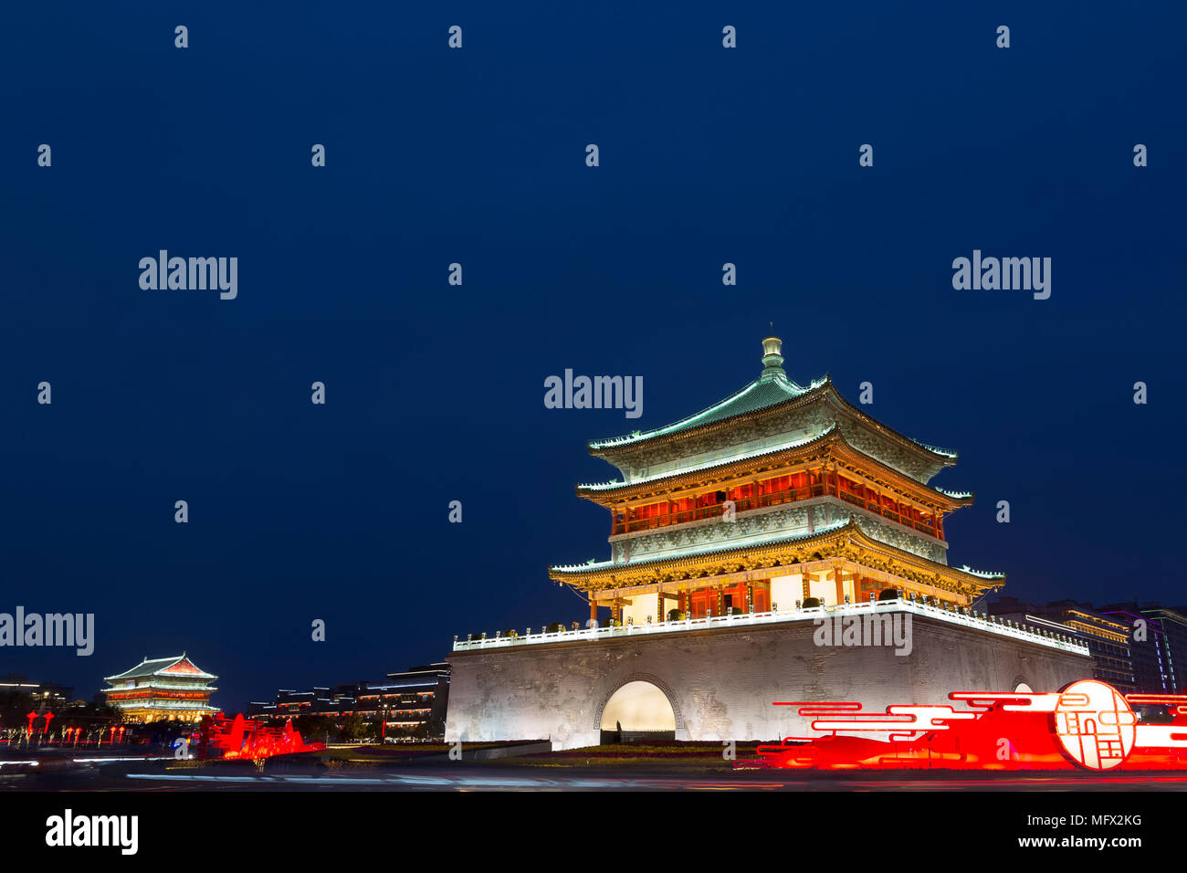 Xian Bell & Drum Tower at dusk in China Stock Photo