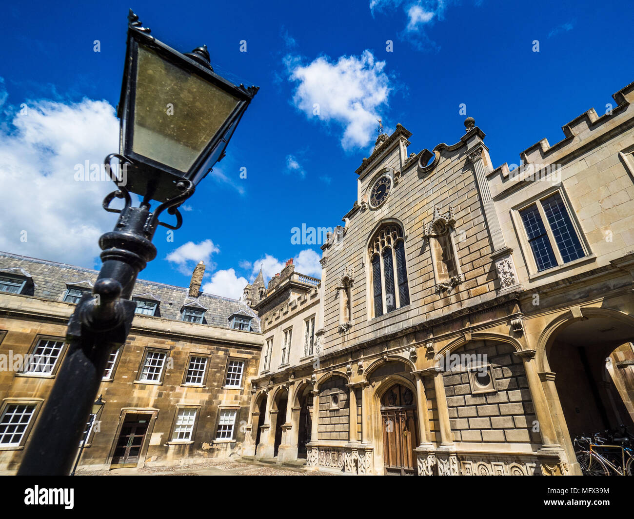 Peterhouse College Cambridge - The Clock Tower of Peterhouse College, part of the University of Cambridge. The college was founded in 1284. - Stock Image