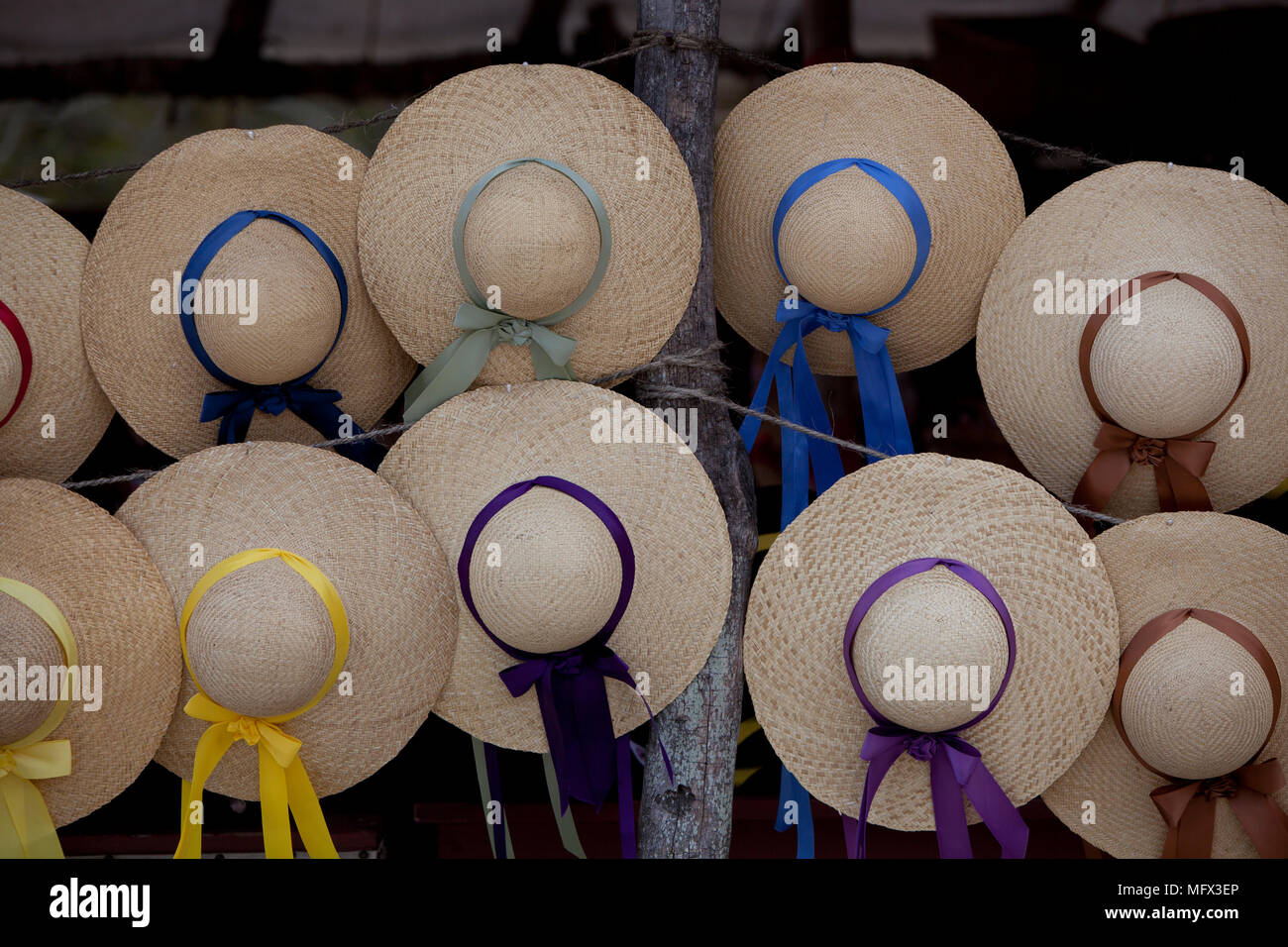 Still life of 18th century American colonial handmade hats for sale in the market. Colonial Williamsburg Virginia - Stock Image