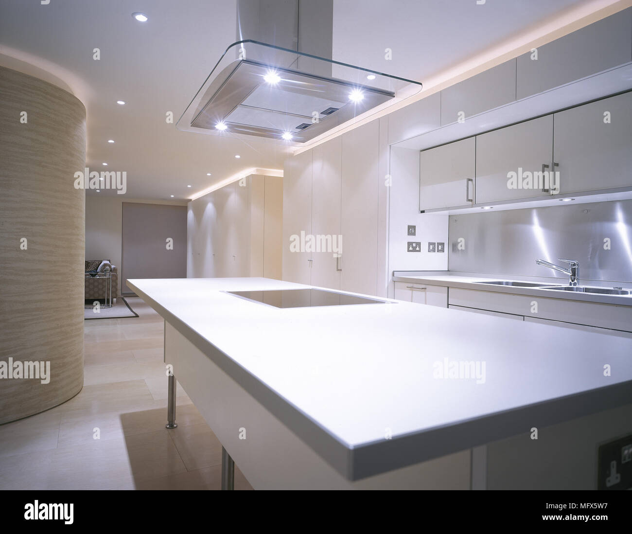 White Kitchen Cabinets Light Floor: Modern, Open Kitchen With A Tiled Floor, White Cabinets