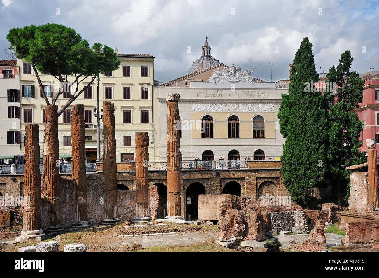 Teatro Argentina is one of the oldest theatres in Rome, and was inaugurated on 1732. It is located in the Area Sacra di Largo di Torre Argentina. Juli - Stock Image