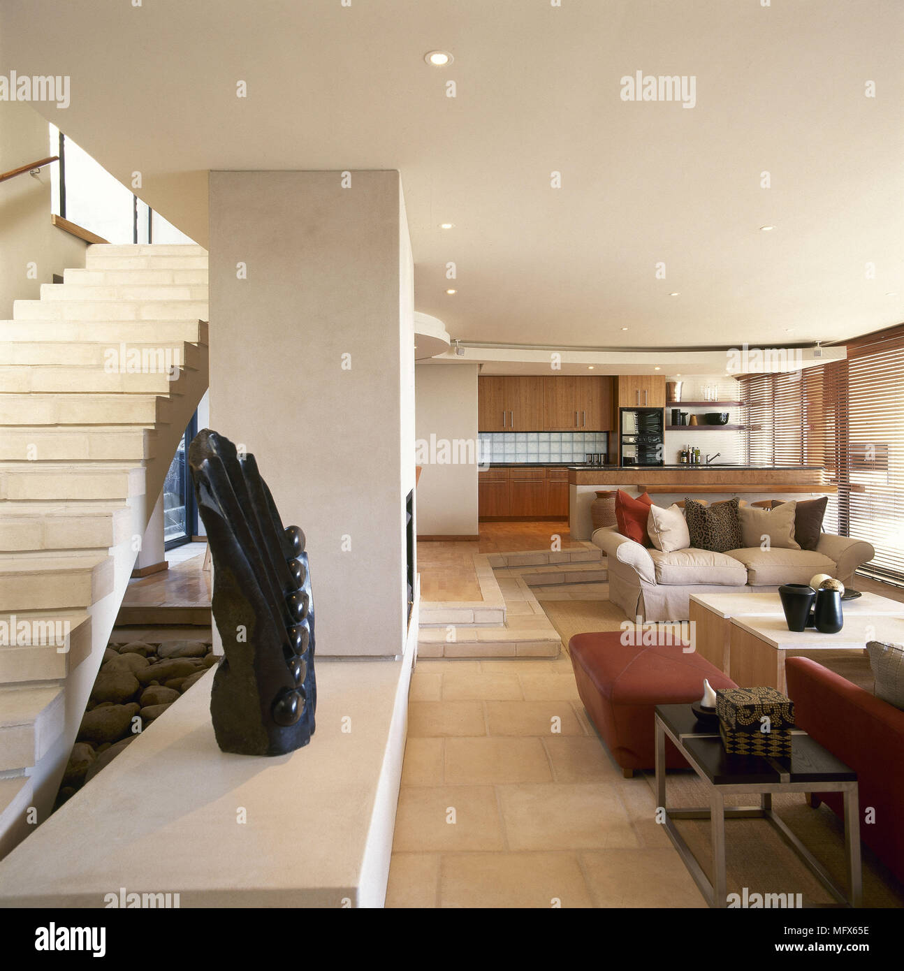 Modern Open Plan Sitting Room Kitchen Area Stone Walls Flooring Stairs Sofa Interiors Open Plan Rooms Living Spaces Neutral Natural Materials Colours Stock Photo Alamy