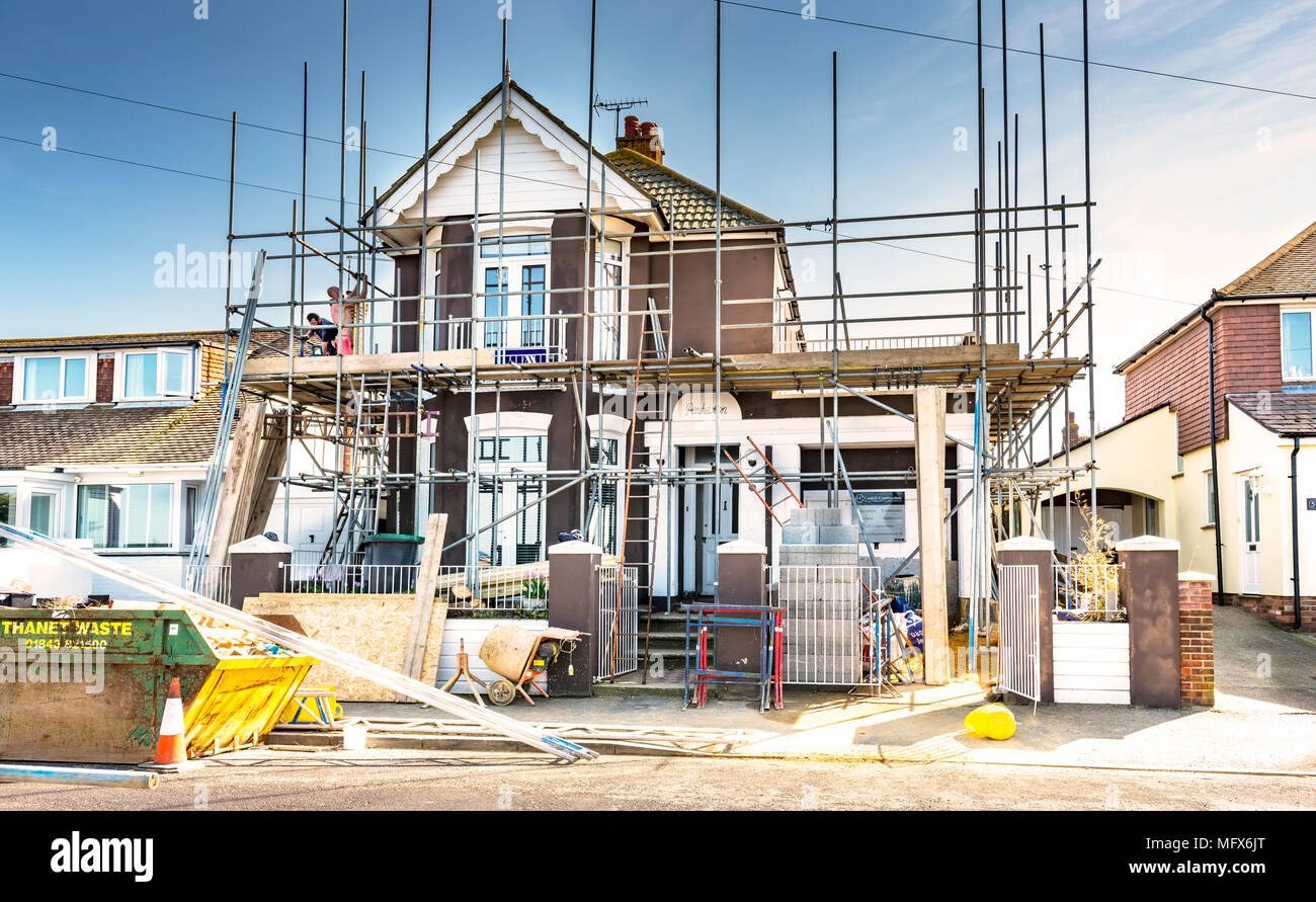 scaffolders at work - Stock Image