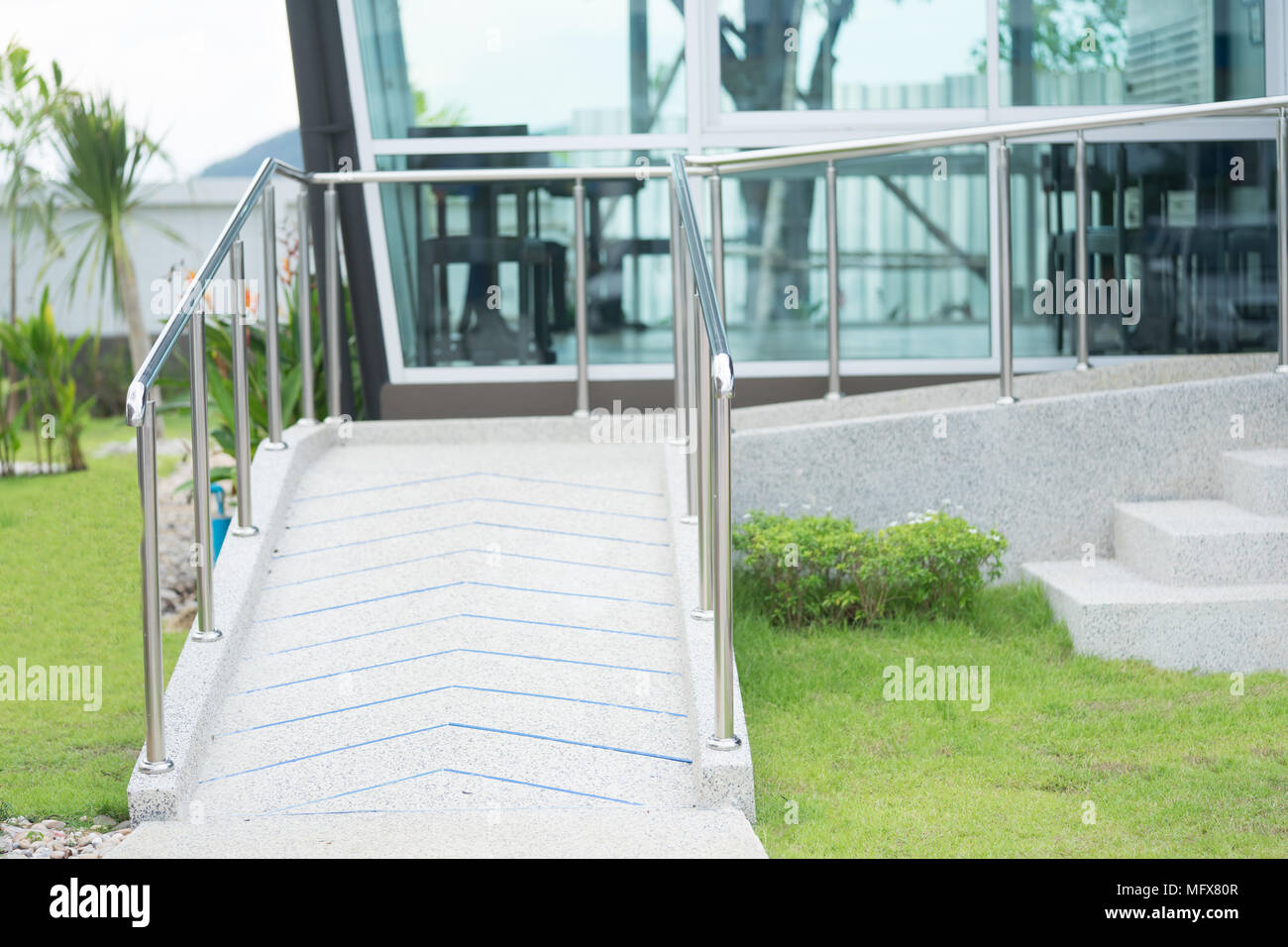 Ramp Way For Support Wheelchair Disabled People.Using Wheelchair Ramp  (Barrier Free Access).Selective Focus.