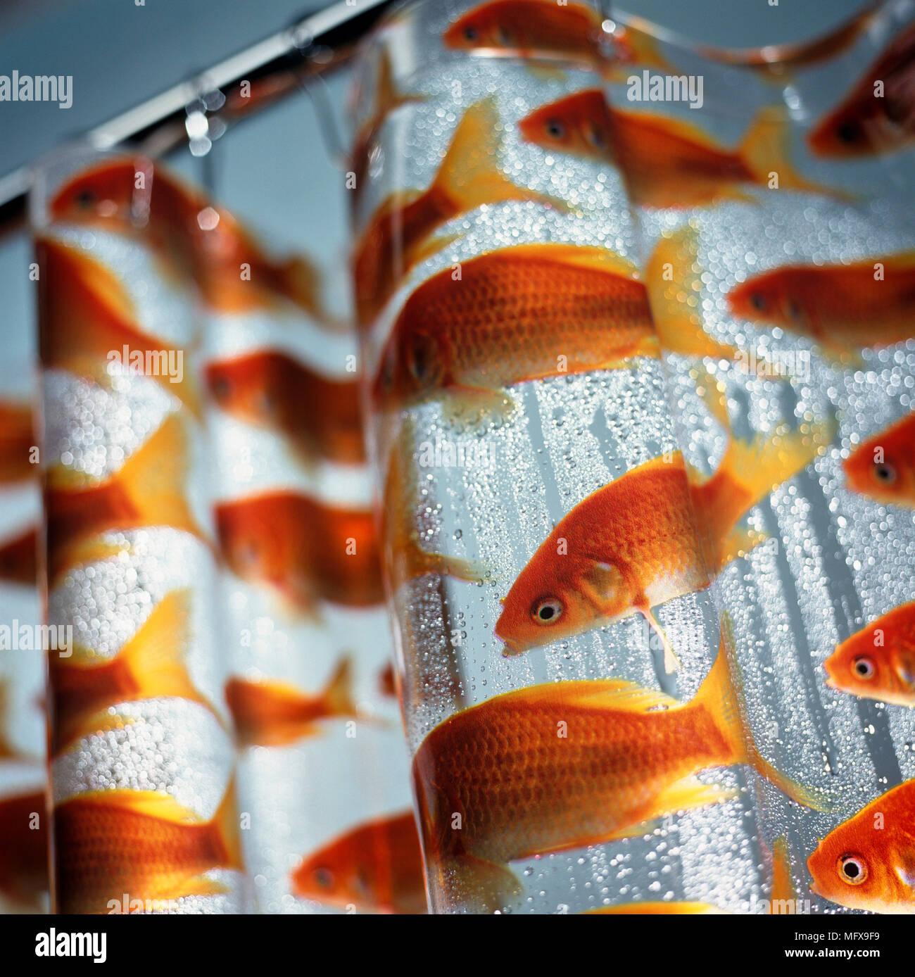Plastic Shower Curtain With Goldfish Design