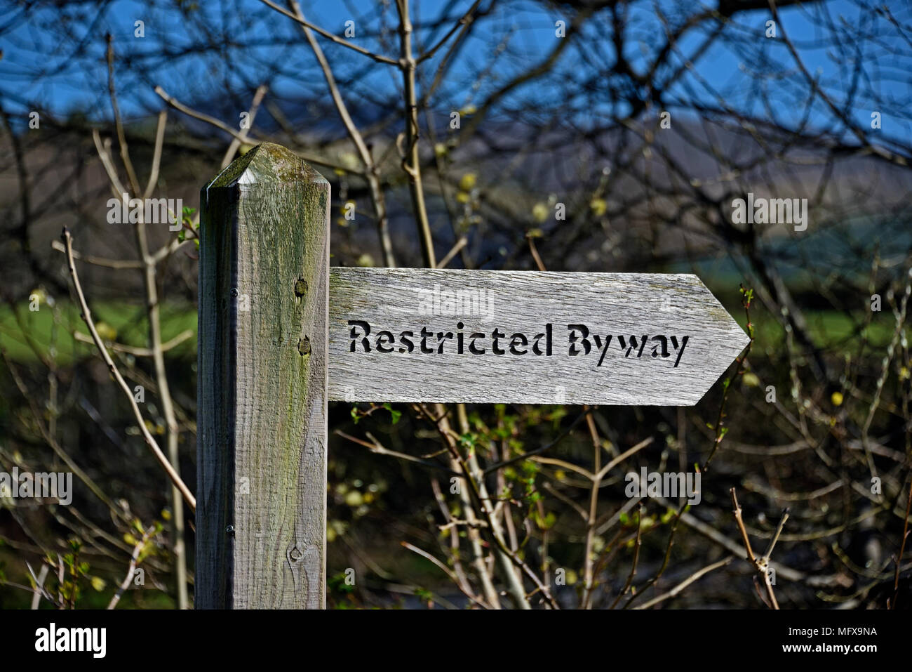 Restricted Byway Fingerpost. Loweswater, Lake District National Park, Cumbria, England, United Kingdom, Europe. - Stock Image