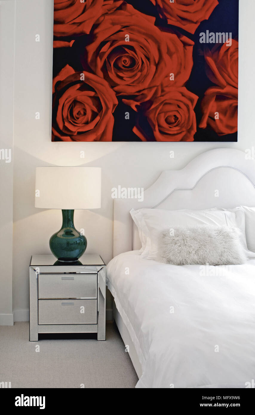 next mirrored furniture. Lamp On Mirrored Beside Chest Of Drawers Next To Double Bed In Modern Bedroom Furniture G