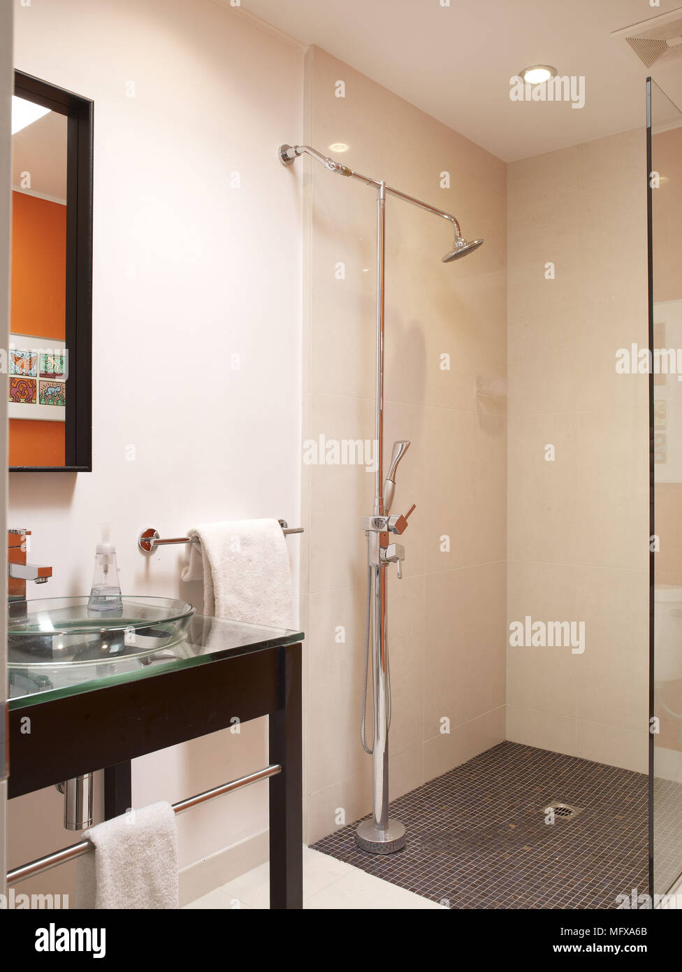 Glass Washbasin On Table Next To Shower Area In Modern Bathroom Stock Photo Alamy