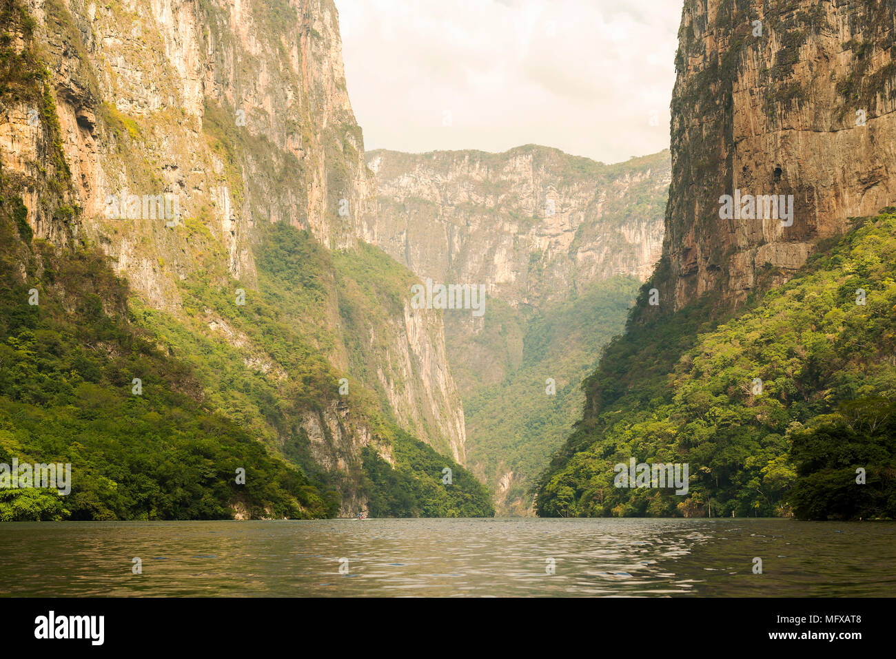 Sumidero Canyon Chiapas, Mexico with massive canyon walls - Stock Image
