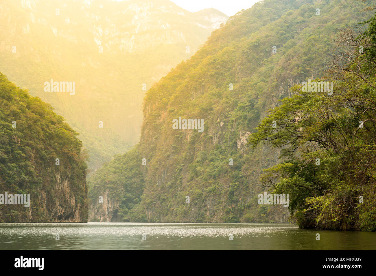 Sunset light on Sumidero Canyon Chiapas, Mexico - Stock Image