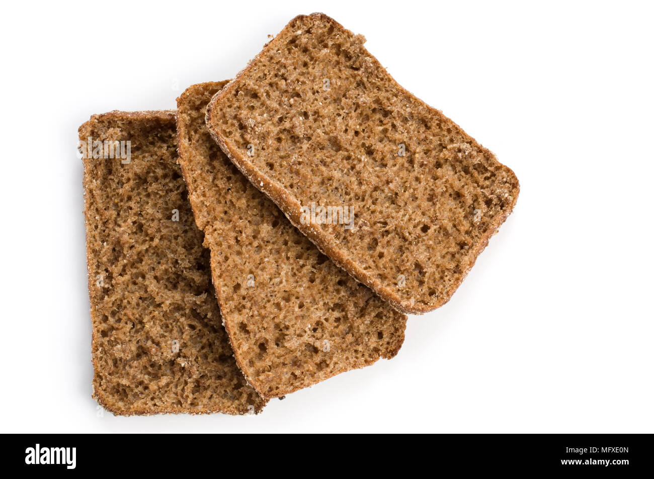 Slices of rye bread on white background. - Stock Image